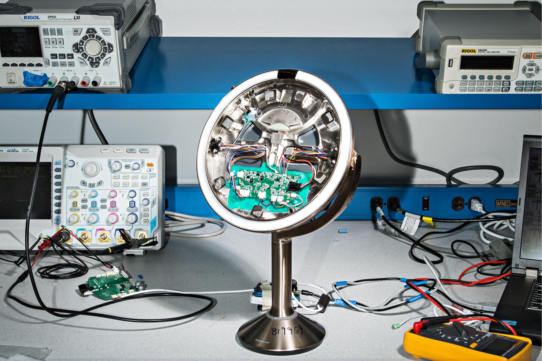 The company's new hi-fi mirror undergoes testing.