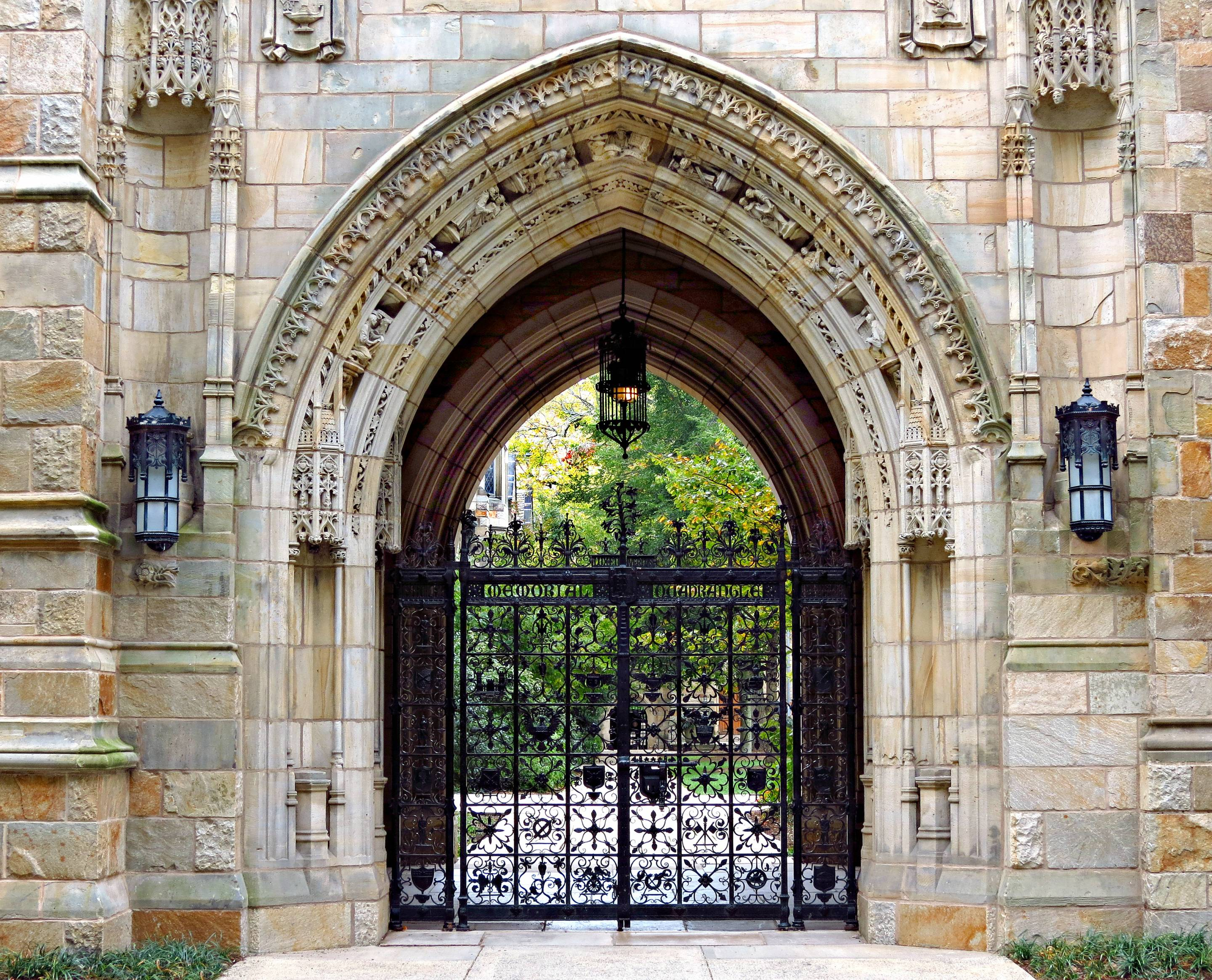 Harkness Gate to Memorial Quadrangle at Yale University in New Haven, Connecticut