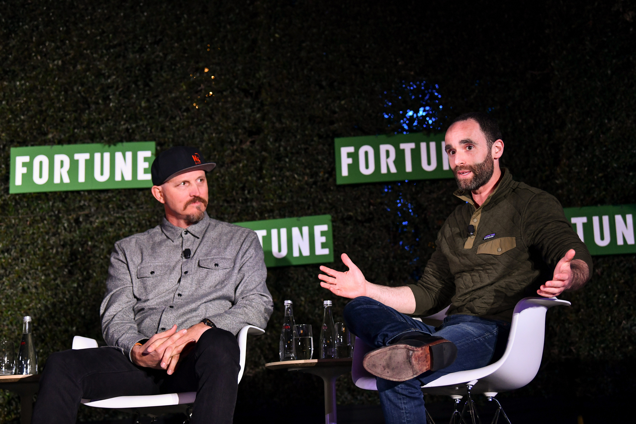 Not Impossible Labs CEO Mick Ebeling and Unreasonable CEO Daniel Epstein speaking at the 2019 Fortune Brainstorm Health conference in San Diego.