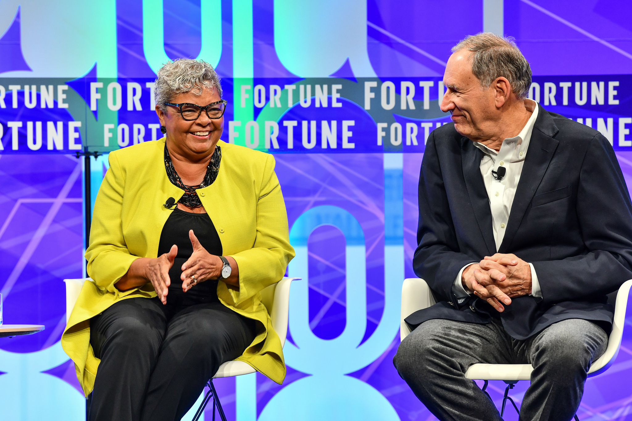 Freda Lewis-Hall of Pfizer and Toby Cosgrove of the Cleveland Clinic and Google Cloud at the 2019 Fortune Brainstorm Health conference in San Diego.