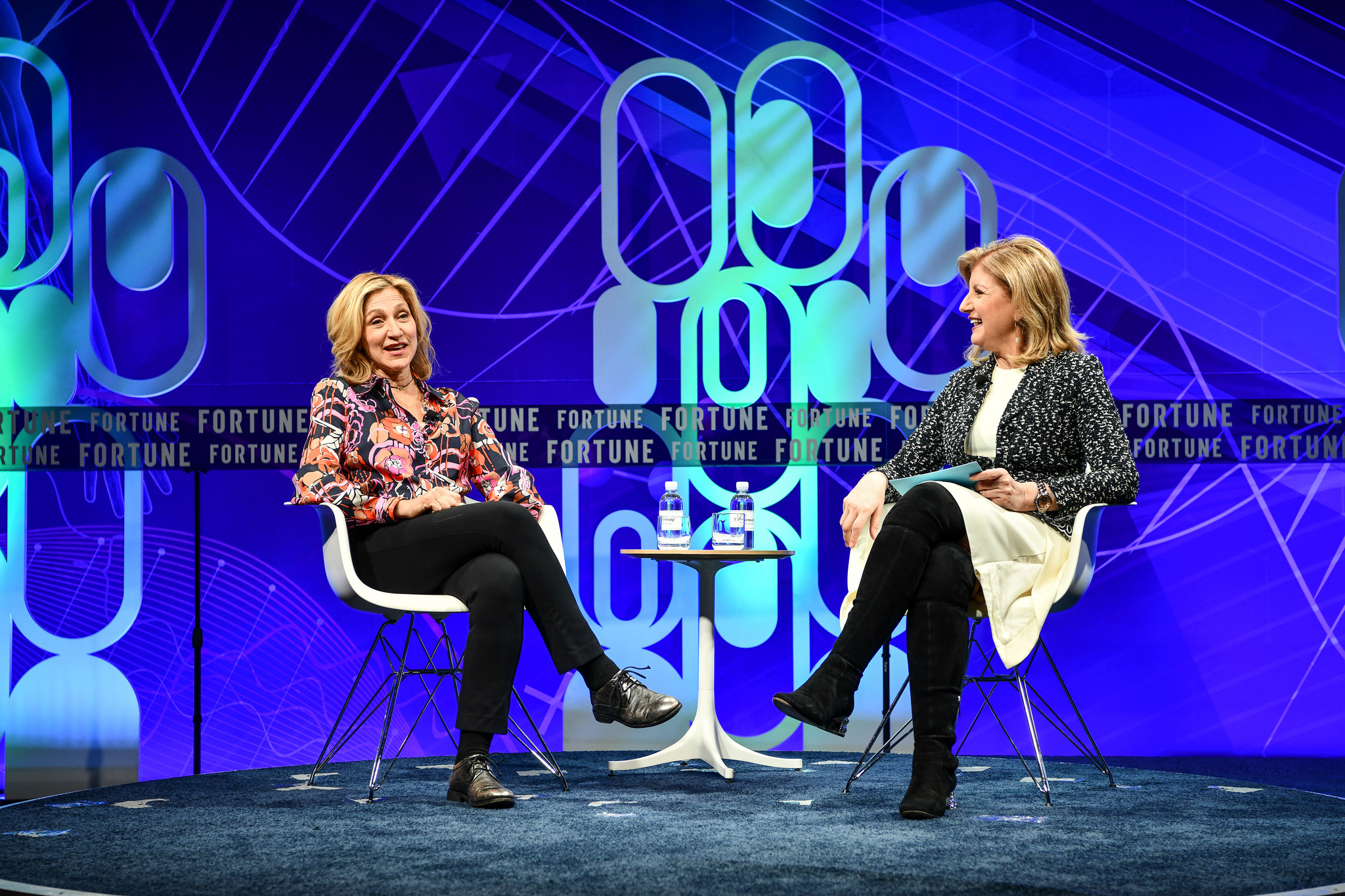 Actor Edie Falco, with Thrive Global CEO Arianna Huffington, at the 2019 Fortune Brainstorm Health conference in San Diego.