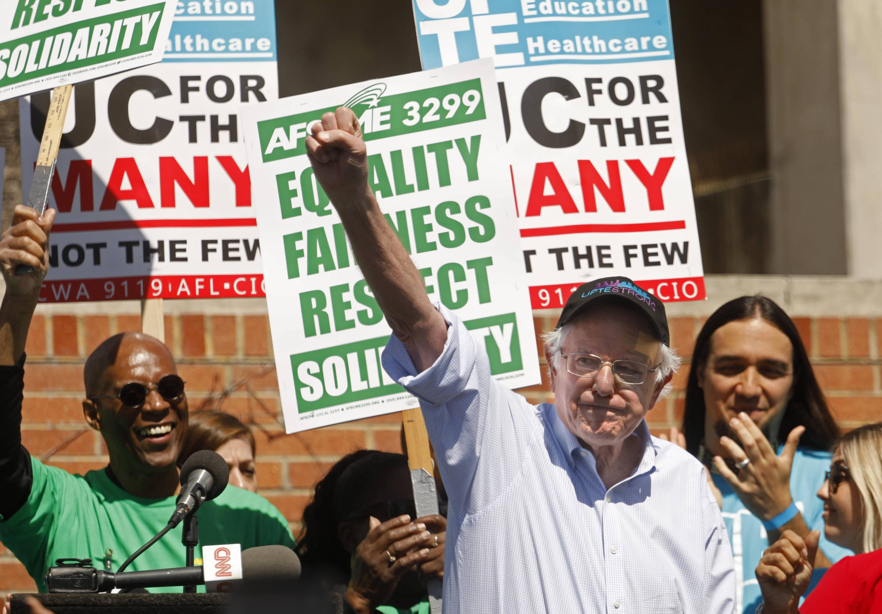 Democratic Presidential Candidate Bernie Sanders Attends Communication Workers Union Rally At UCLA
