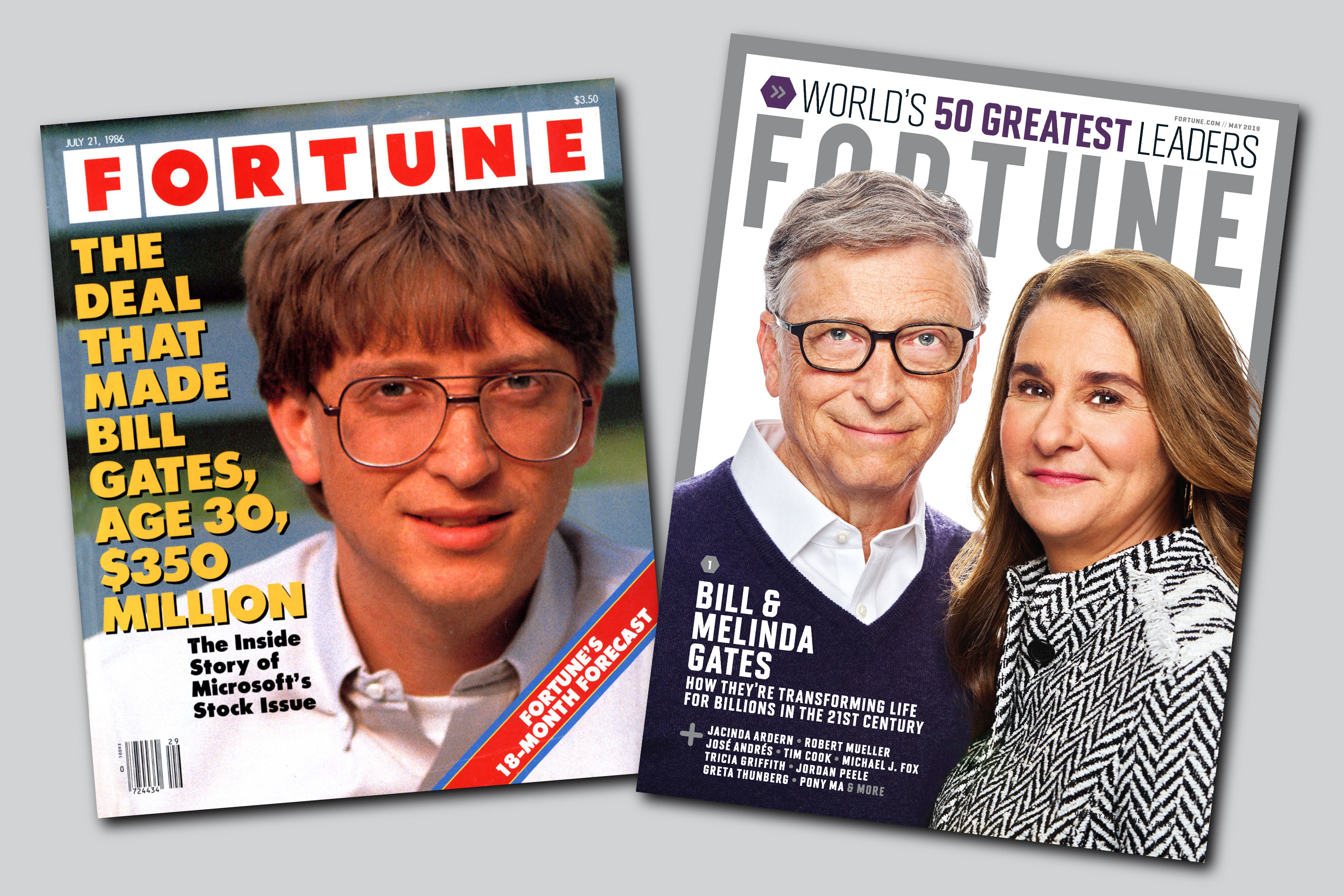 Bill Gates' first cover for ­Fortune, left,  just after ­Microsoft's IPO.