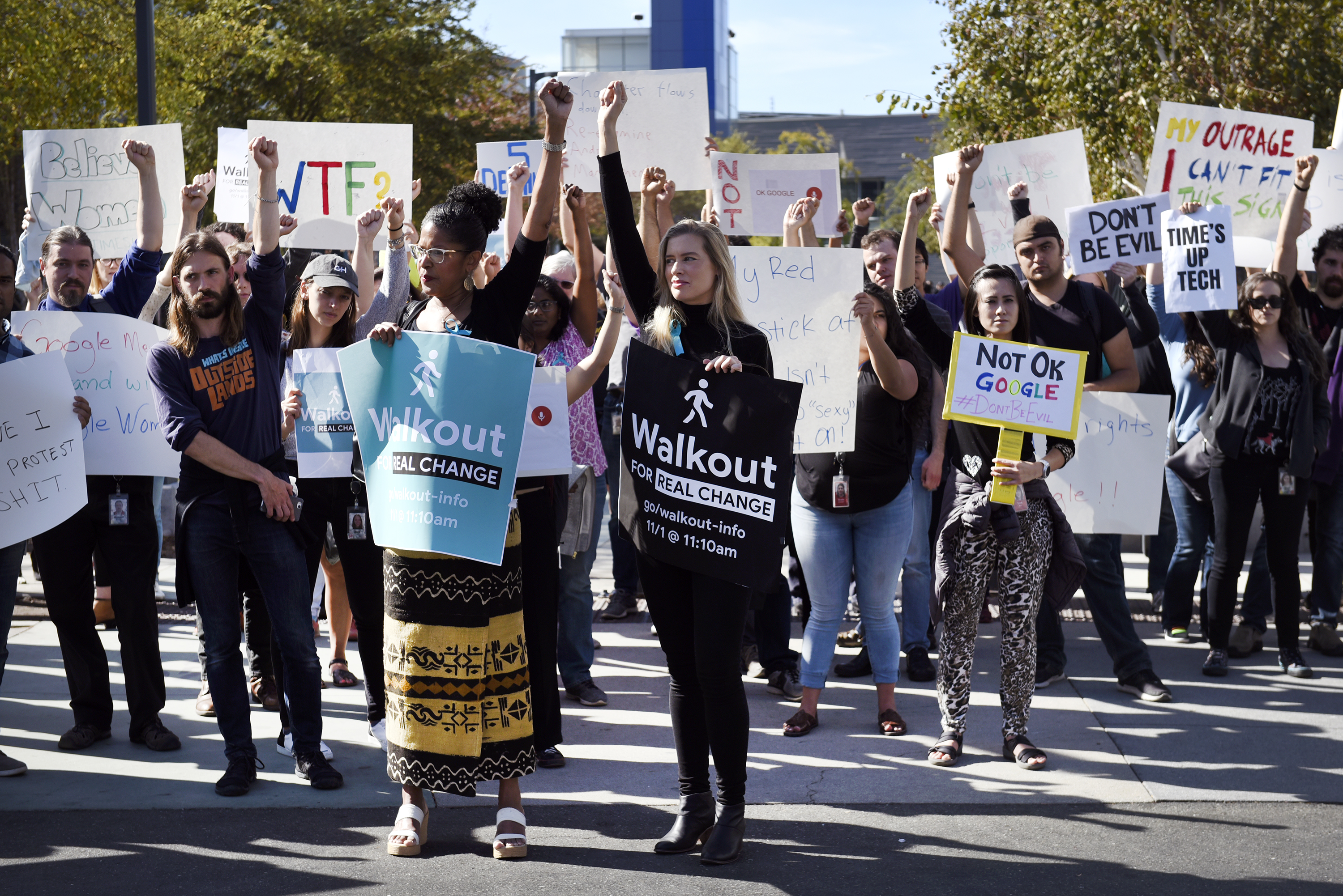 Google employees hold signs during a walkout in November to protest how the tech giant handled sexual misconduct.