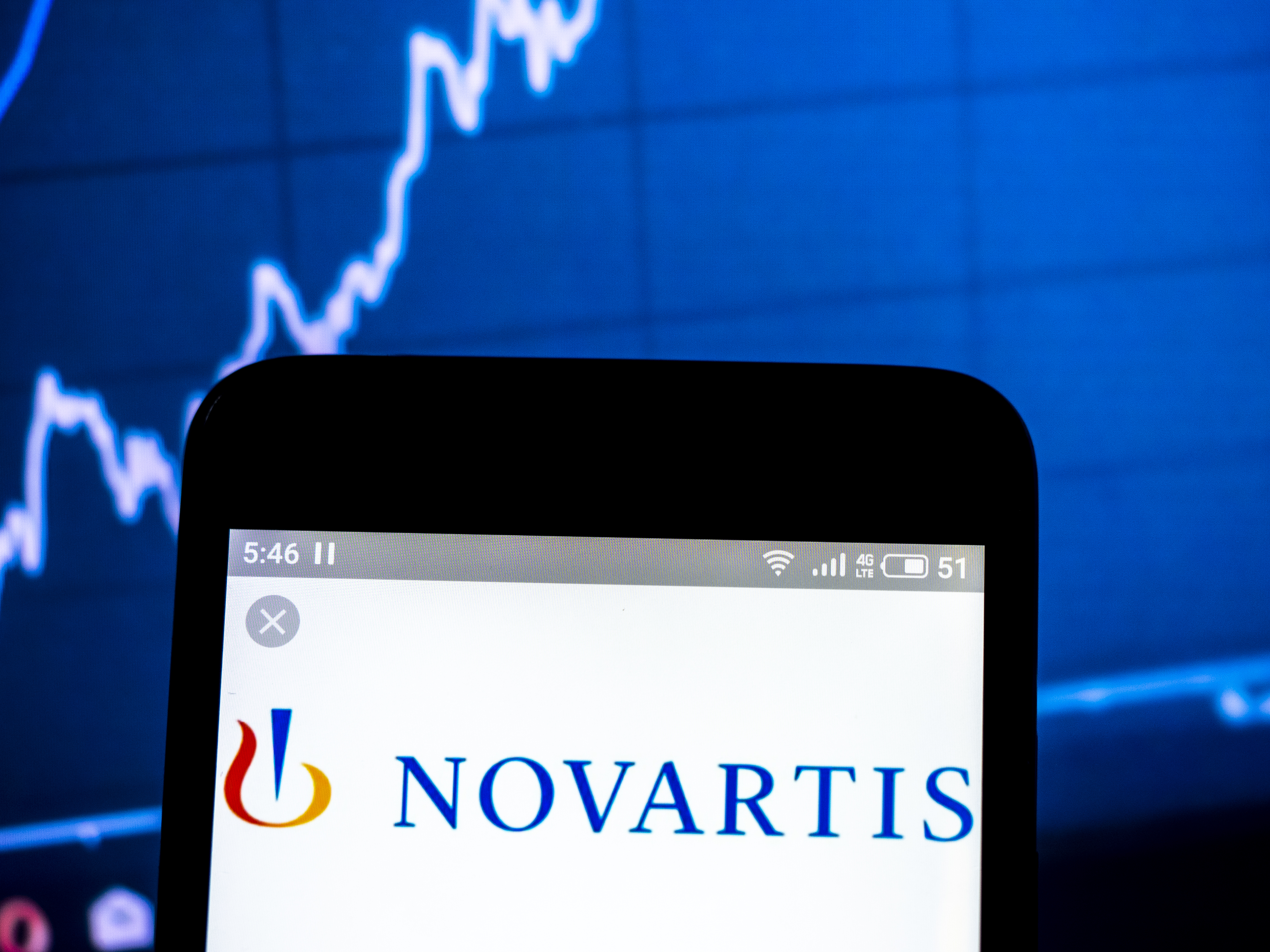 In this photo illustration a Novartis International AG  logo