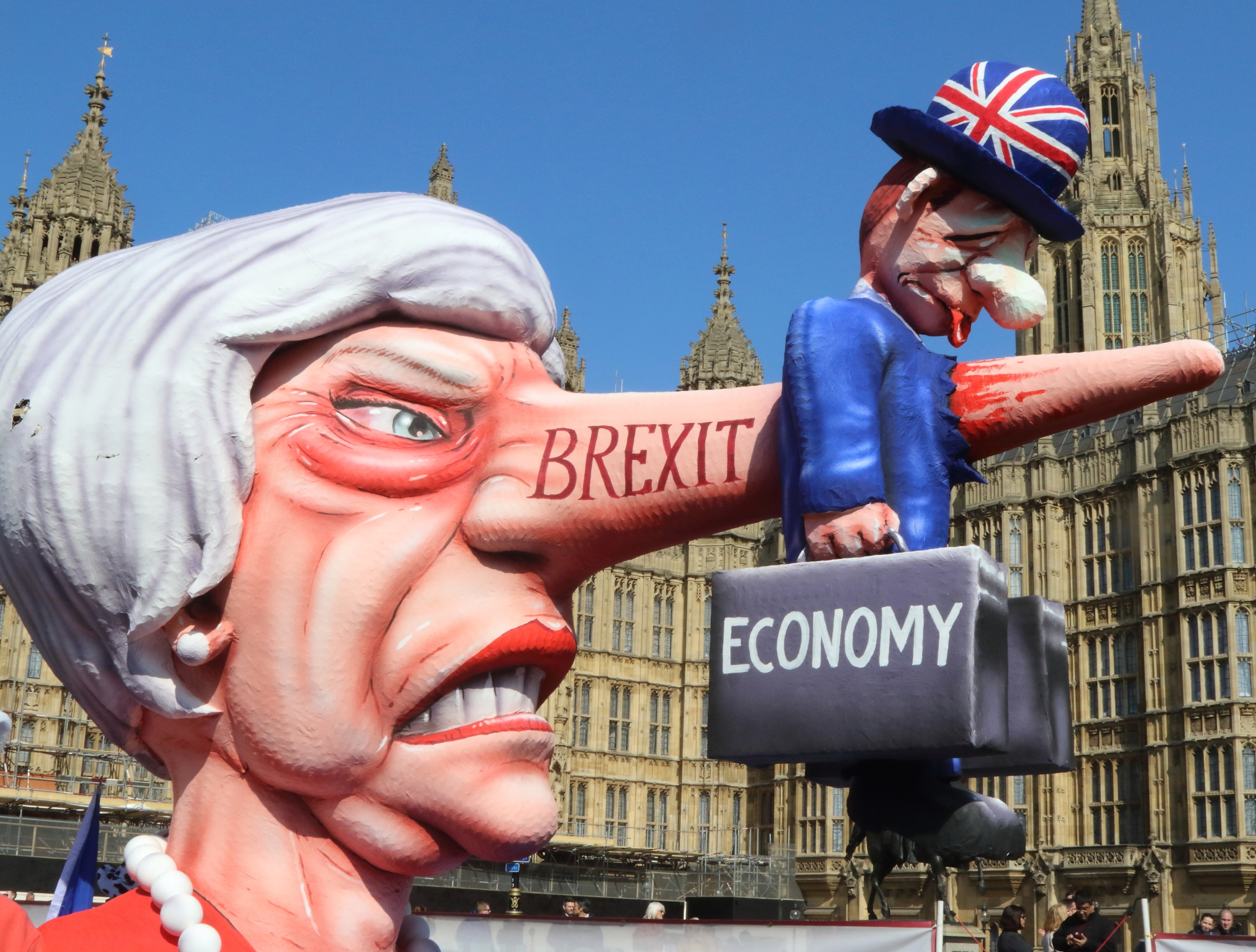 A giant effigy of Prime Minister Theresa May, with the