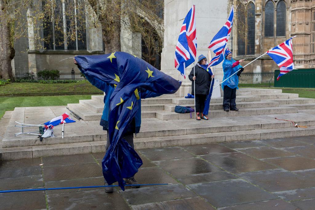 Brexit EU Flags Outside Parliament