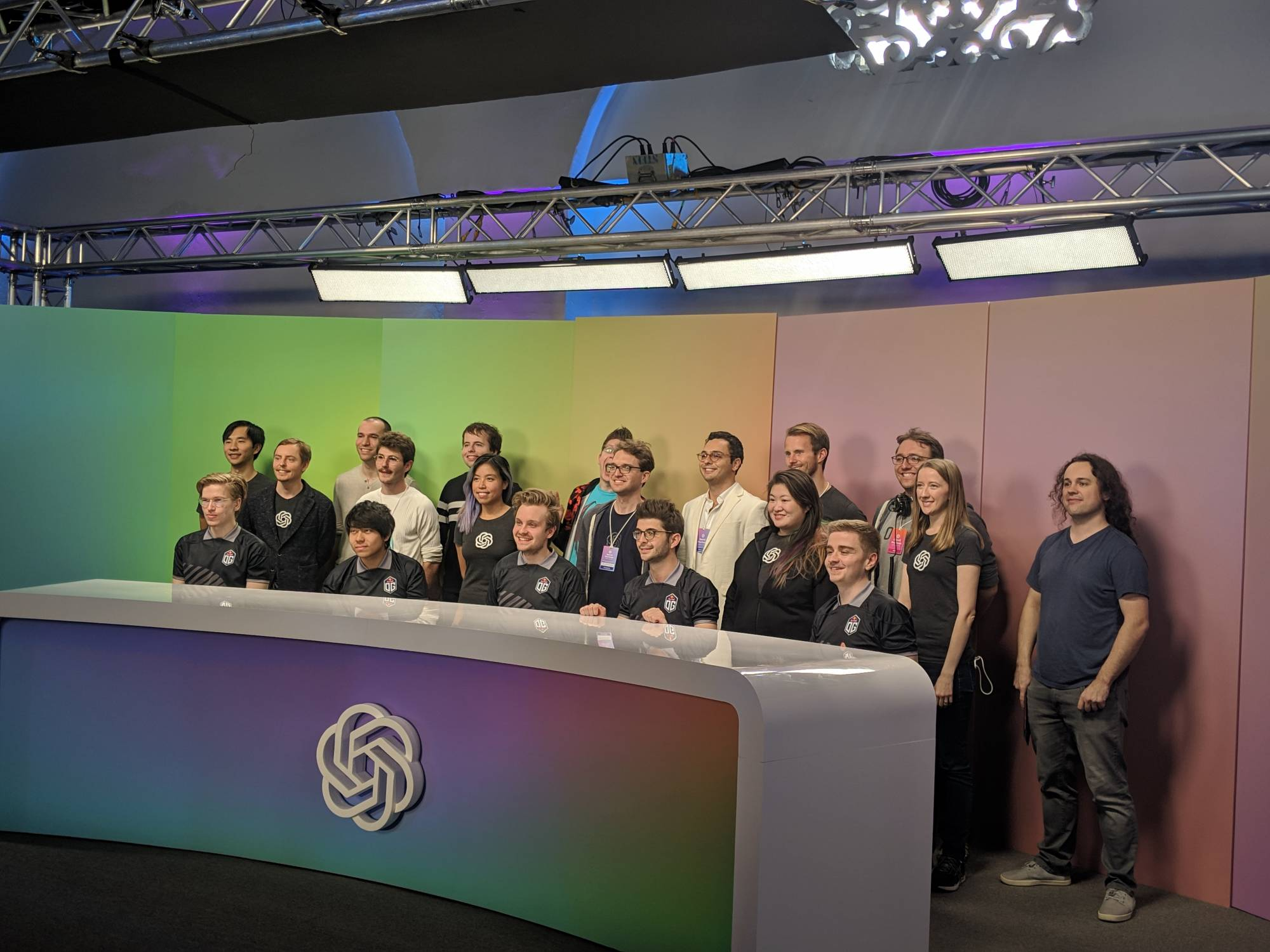 OpenAI staff and members of Dota 2 e-sports team OG.