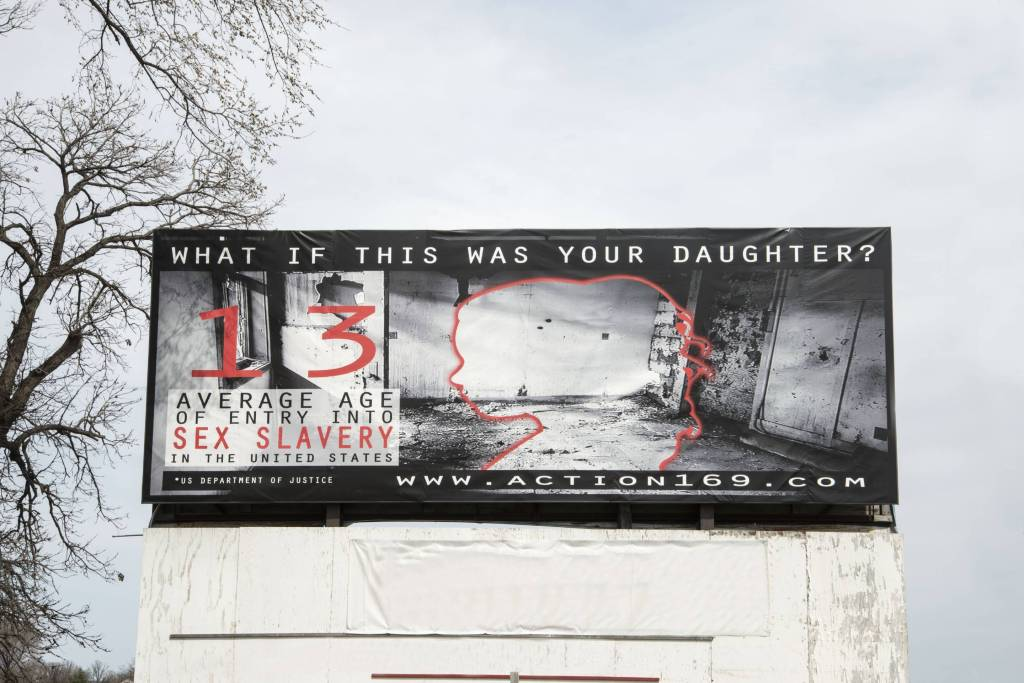 Billboard showing the effects of sex slavery