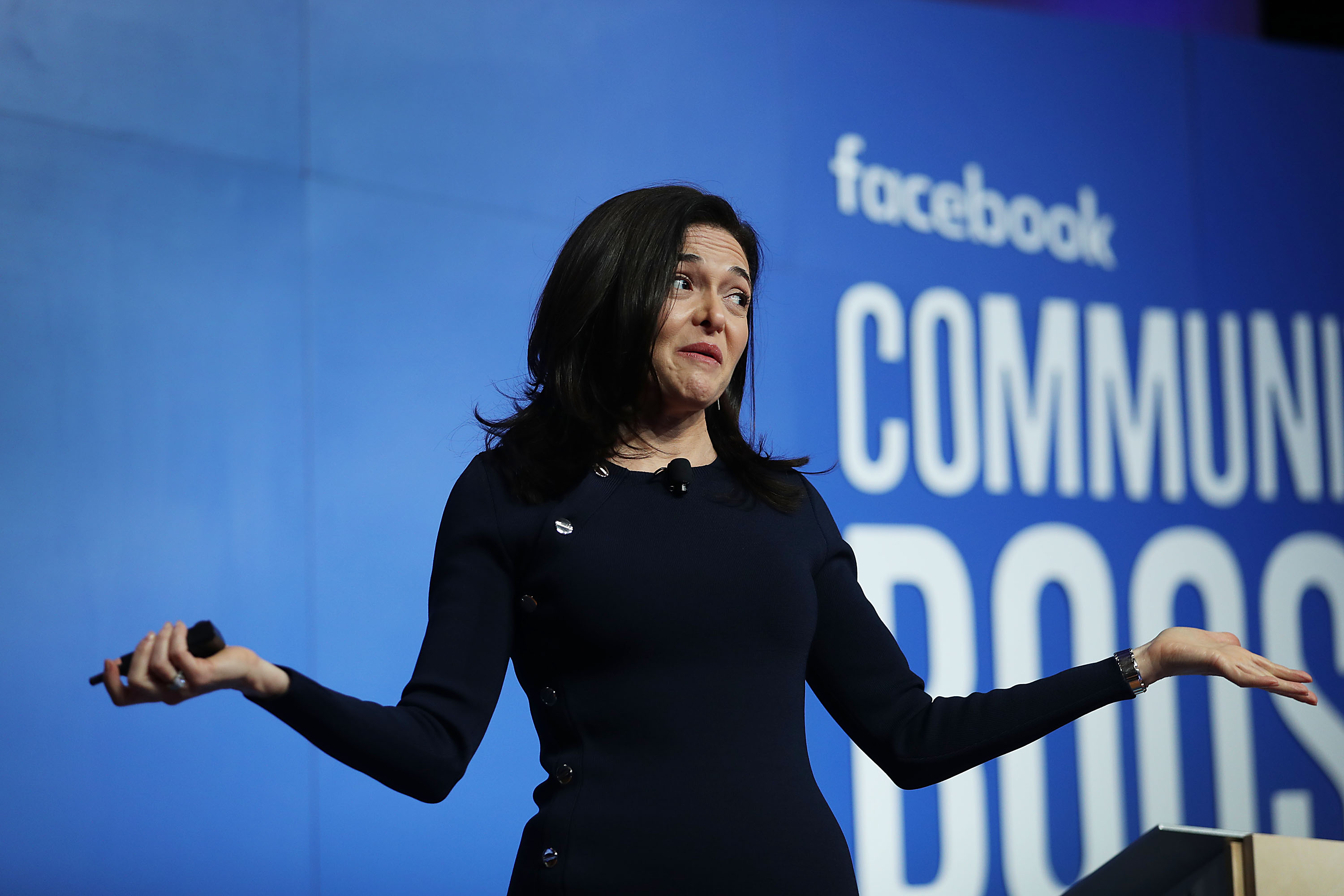 Facebook COO Sheryl Sandberg speaks during an event at the Knight Center on Dec. 18, 2018 in Miami.