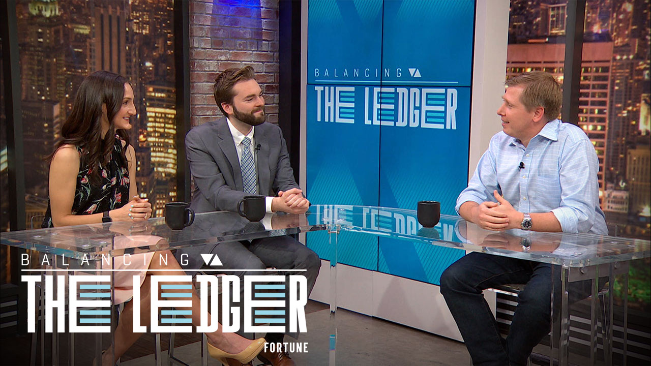 "Barry Silbert (R), CEO and founder of Digital Currency Group, a cryptocurrency firm, joins Fortune's ""Balancing The Ledger"" show."