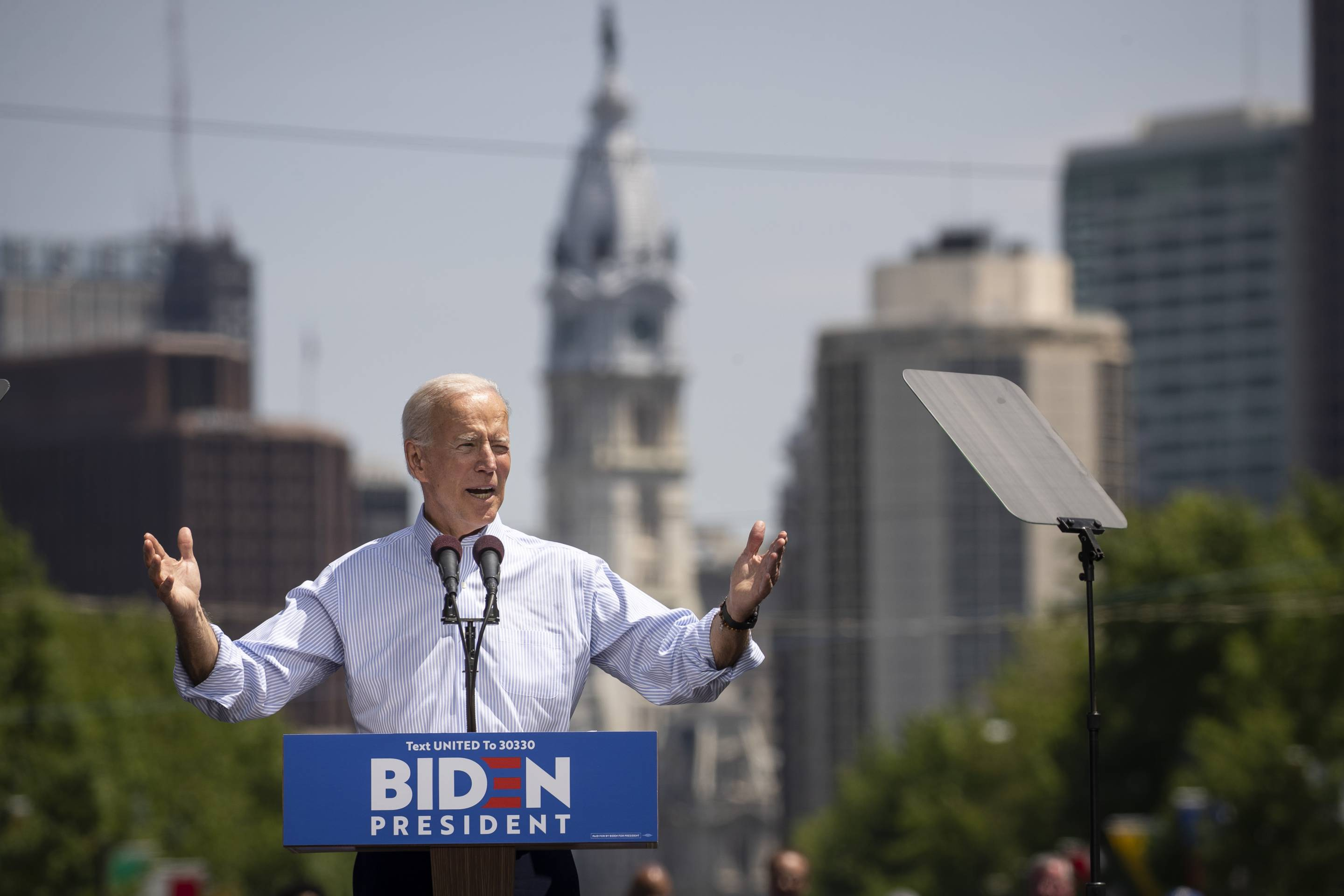 Former Vice President and Democratic presidential candidate Joe Biden speaks during a campaign kickoff rally on May 18, 2019, in Philadelphia.