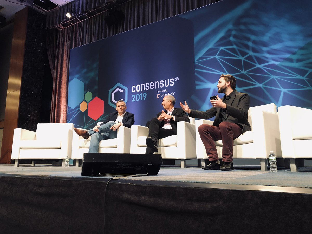 "Fortune's Robert Hackett (R) moderating a panel at Consensus 2019 featuring Tom Glocer (center), lead director of Morgan Stanley and former CEO of Thomson Reuters, and Nadav Zafrir, CEO of startup foundry Team8 and former head of cyber for the Israeli Defense Forces. The session, titled ""Cat and Mouse? Securing Digital Assets and the Future of Adoption"" took place on May 13, 2019."