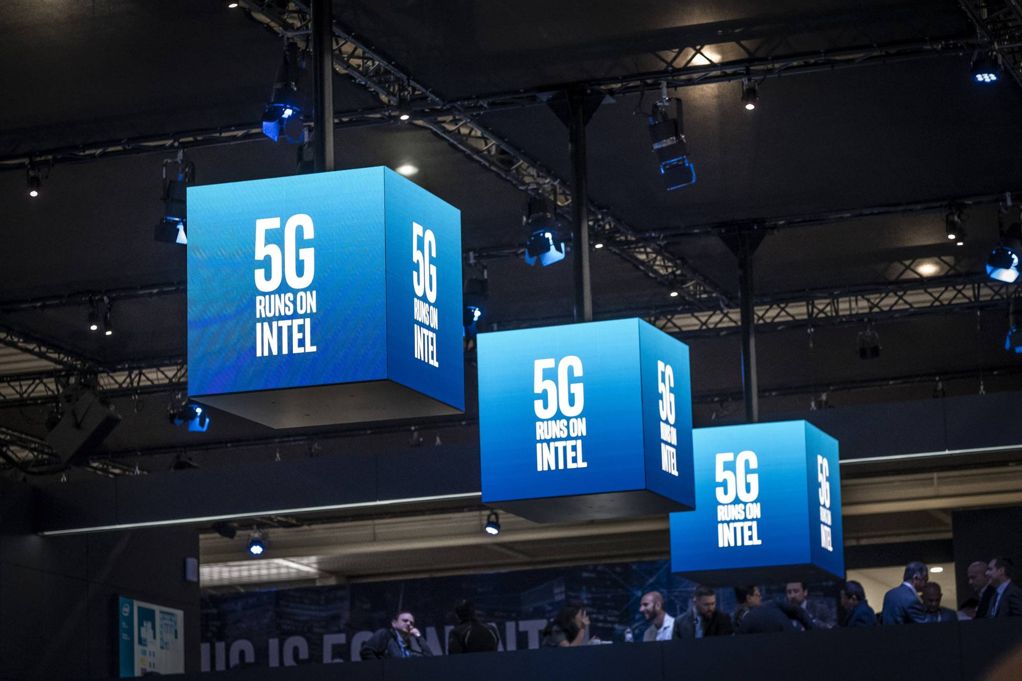 The 5G logo of Intel is seen during the MWC2019.The MWC2019