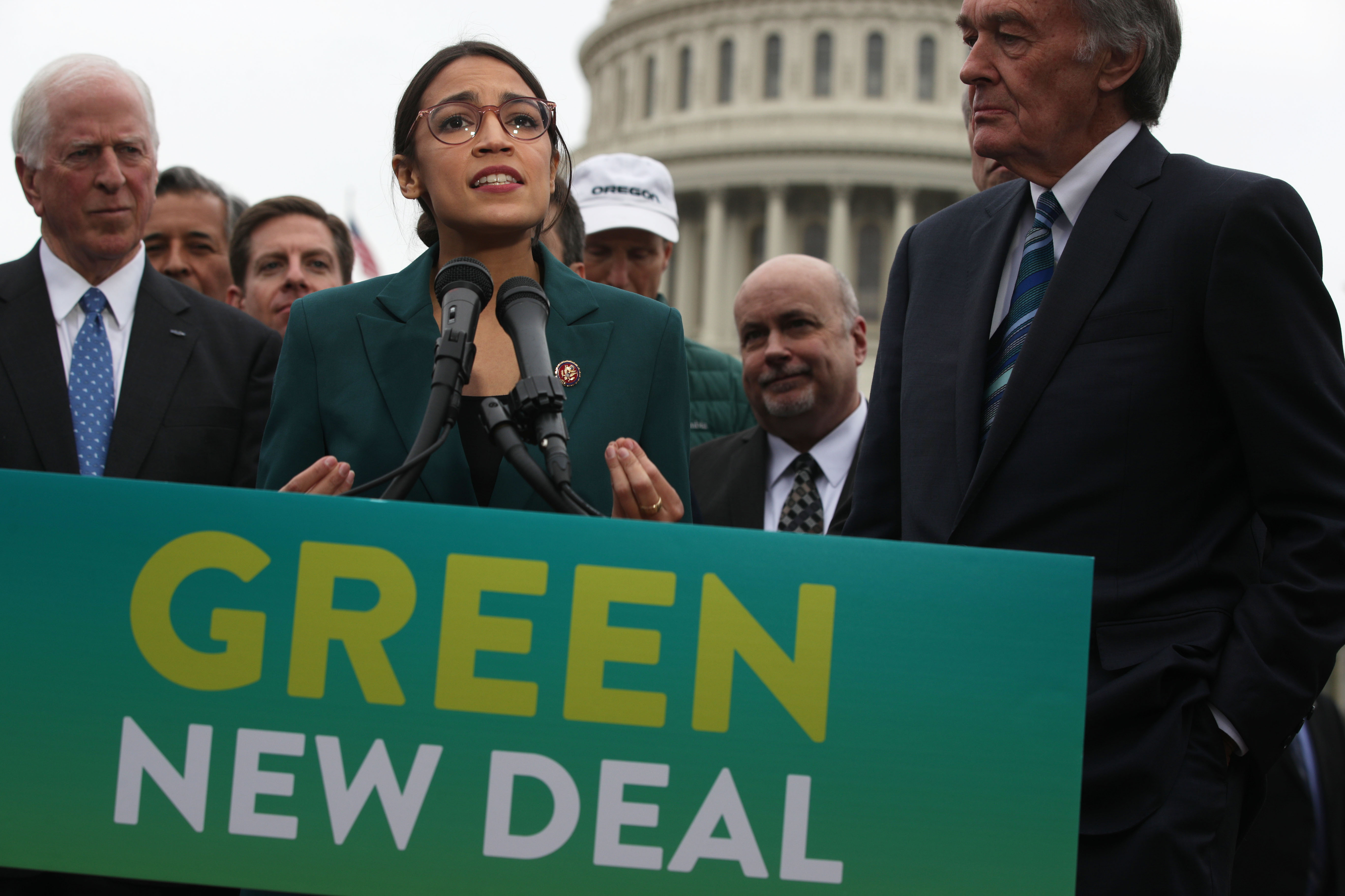 Democratic Lawmakers Rep. Alexandria Ocasio-Cortez And Sen. Ed Markey Unveil Their Green New Deal Resolution