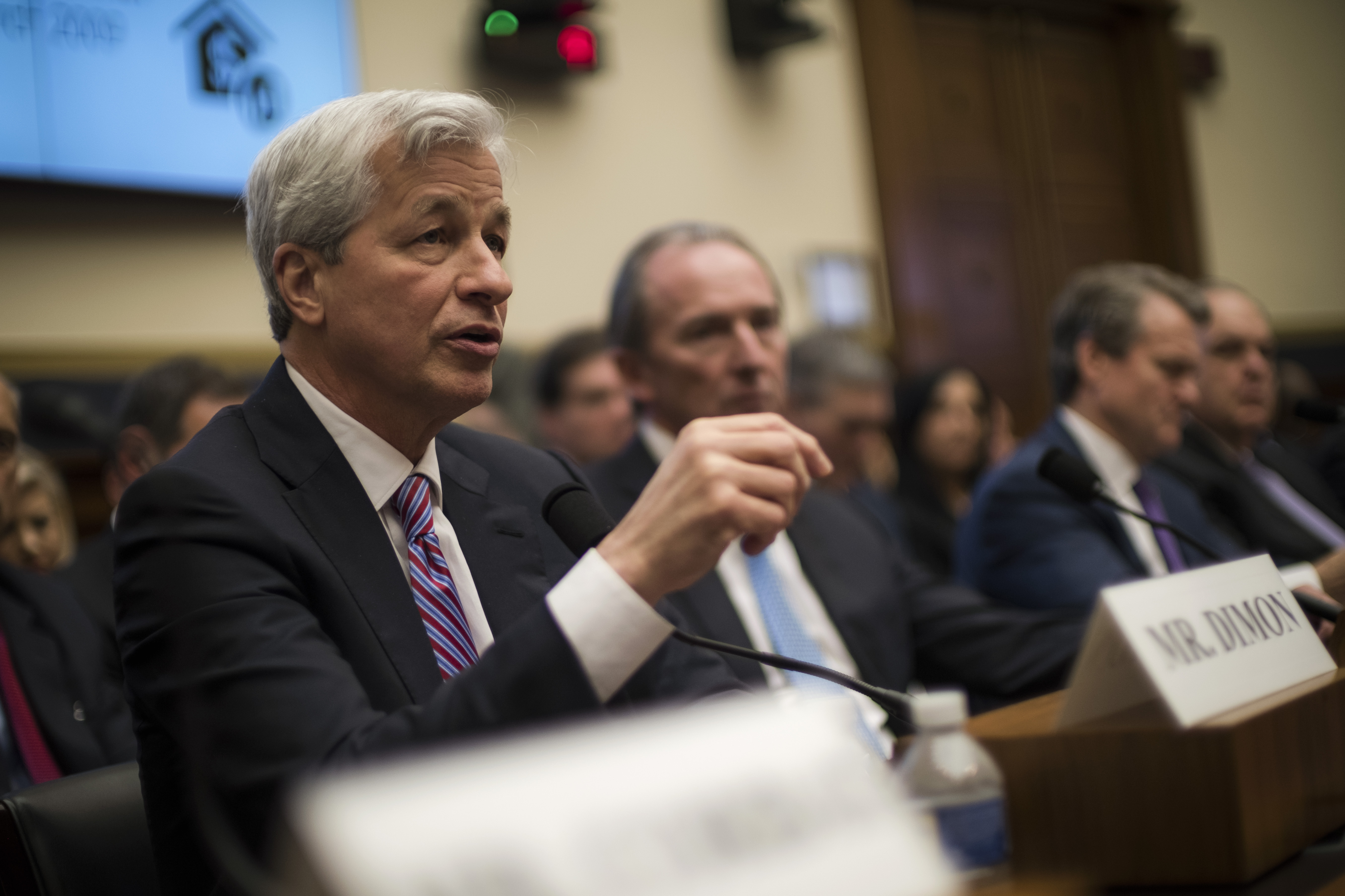 Jamie Dimon, Chair and CEO of JP Morgan Chase, testifies before the House Financial Services Commitee in Washington