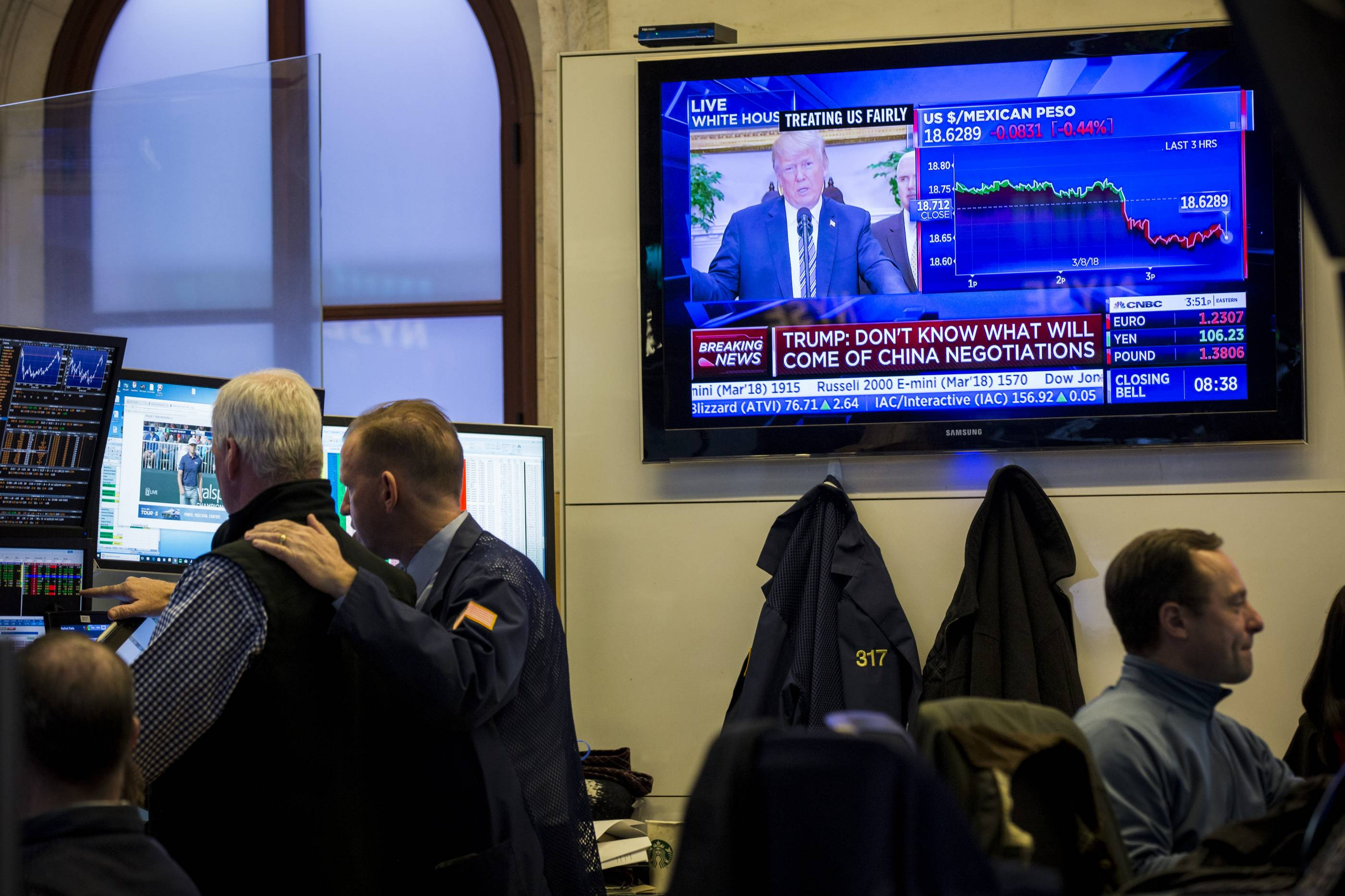 U.S. Markets React To Trump's Announcement On Steel And Aluminum Tariffs