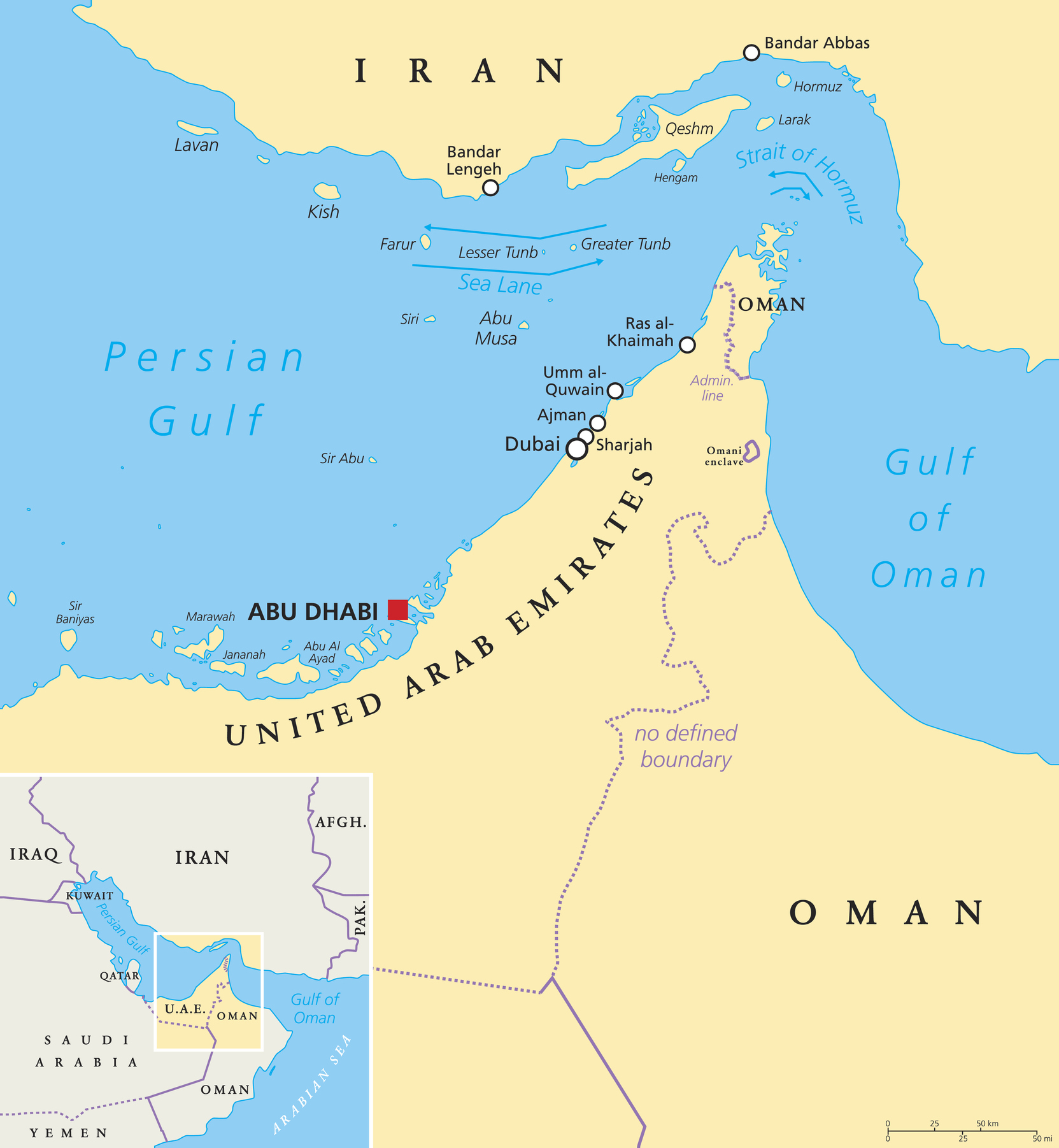 Strait of Hormuz, Abu Musa and the Tunbs Political Map