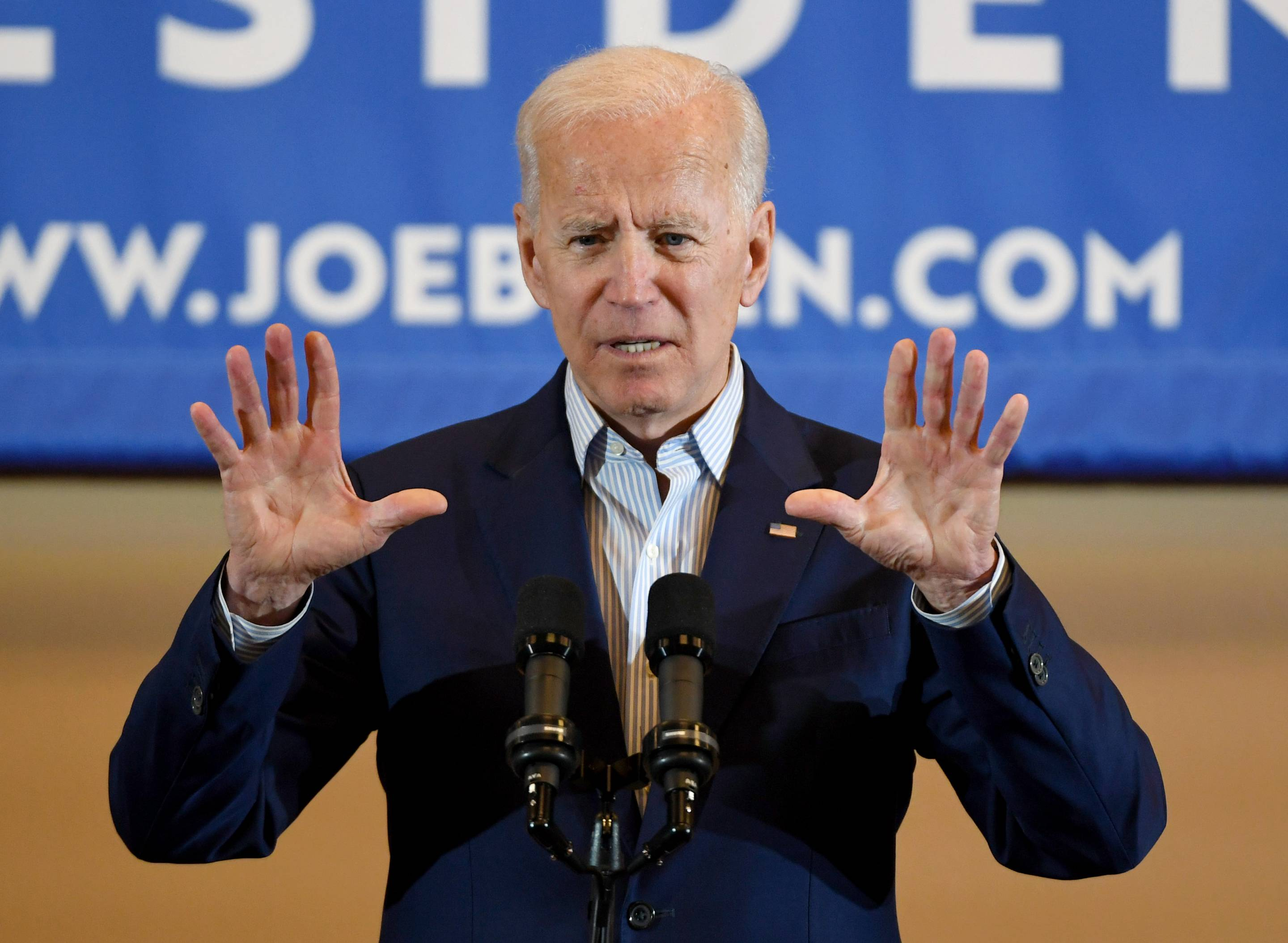Democratic presidential candidate and former vice president Joe Biden speaks at the International Union of Painters and Allied Trades District Council 16 on May 7, 2019 in Henderson, Nev.