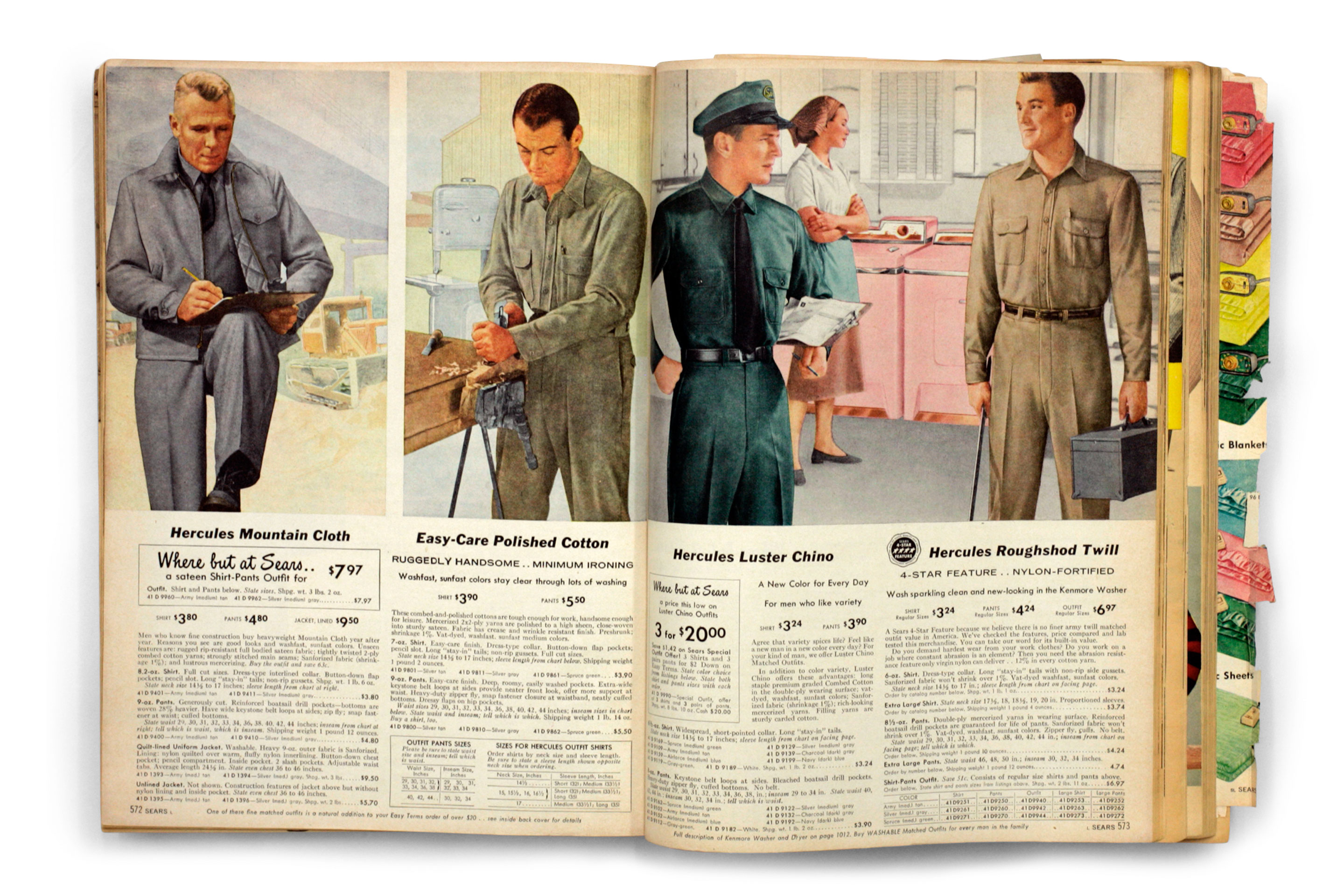 Pages from the 1957 fall/winter Sears catalog.