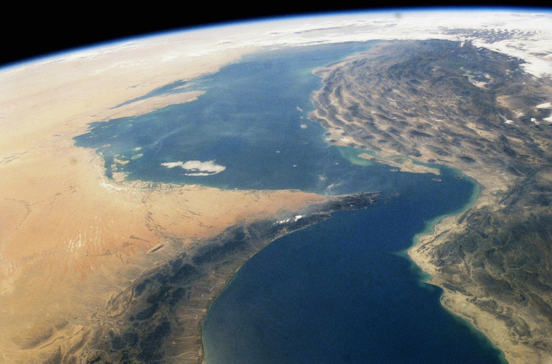 Middle East, Persian Gulf region, Strait of Hormuz, satellite view