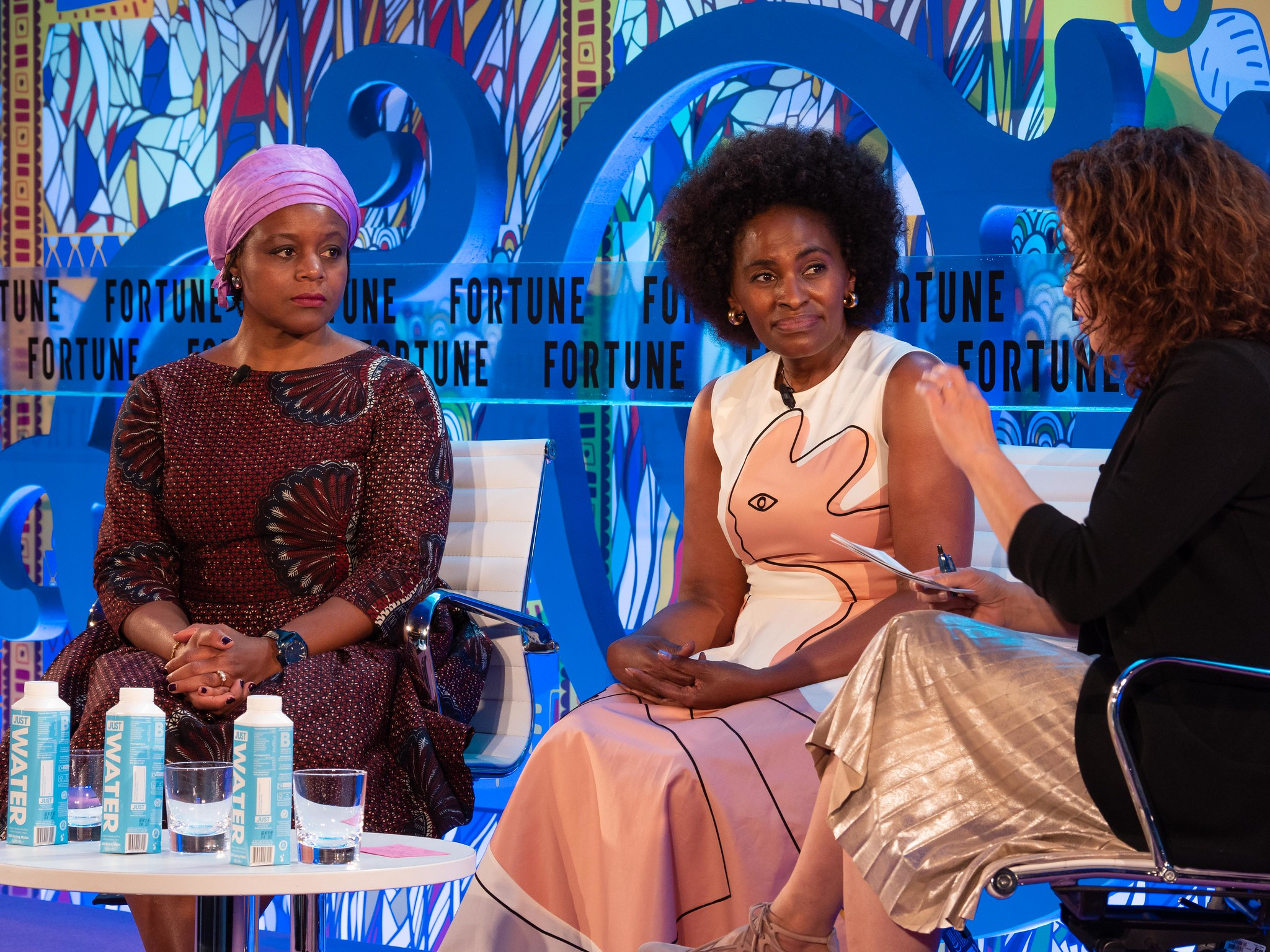 Viola Llewellyn, co-founder and president of Ovamba Solutions, and Nunu Ntshingila, Facebook's head of Africa, speak at Fortune Most Powerful Women International in London.