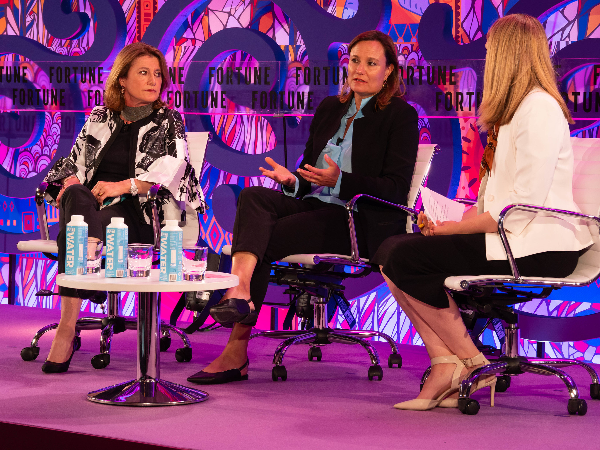 Booking.com president and CEO Gillian Tans and TomTom co-founder Corinne Vigreux discuss problems of artificial intelligence at Fortune's Most Powerful Women International in London