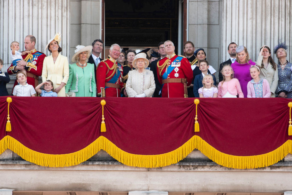 Queen Elizabeth II and her family members on the balcony of Buckingham Palace during the Trooping the Colour ceremony to mark her 93rd birthday in London, on June 8, 2019. (Xinhua/Ray Tang via Getty Images)
