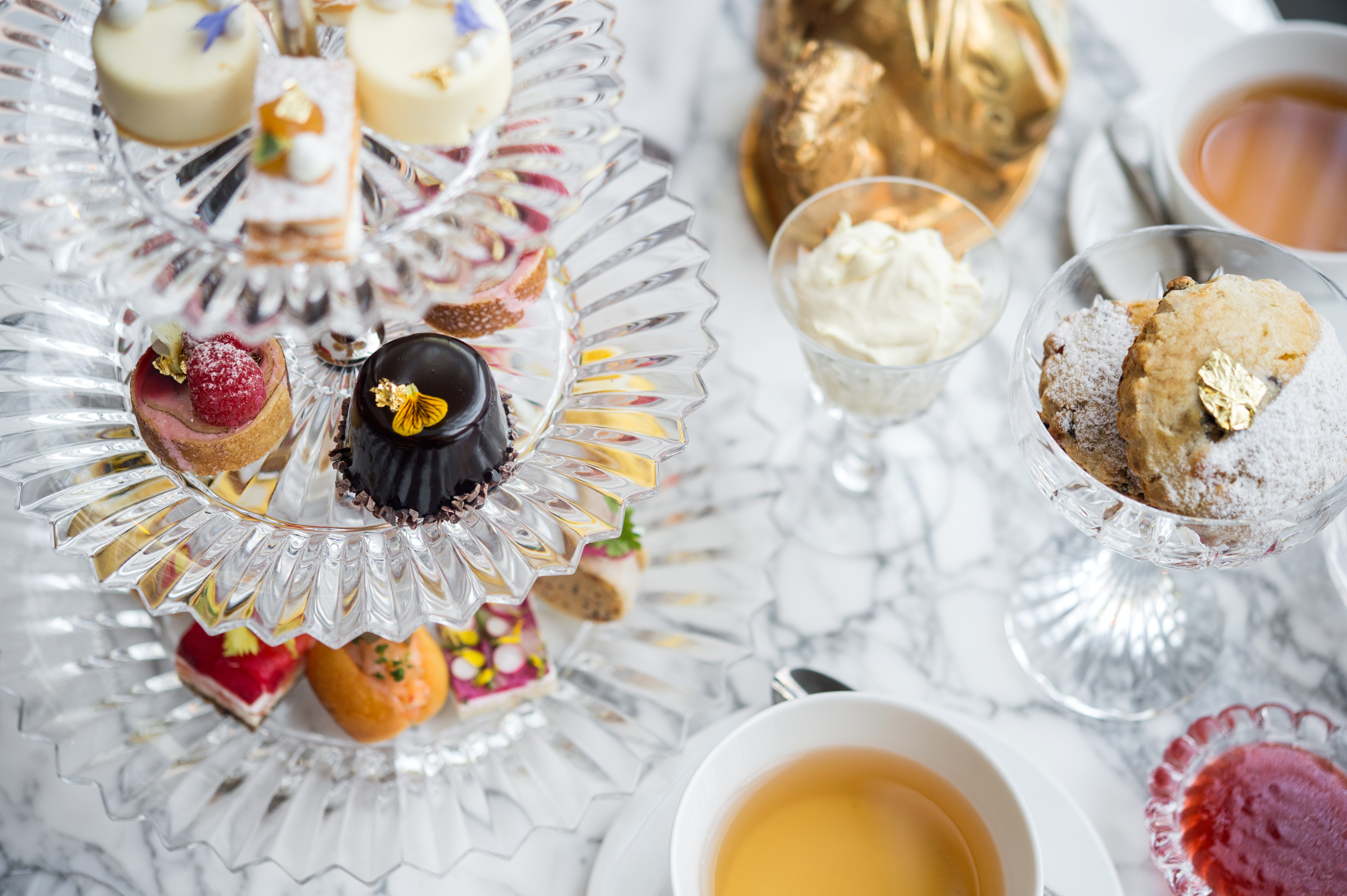 Afternoon Tea service at the Baccarat, a luxury hotel in Midtown Manhattan, New York.
