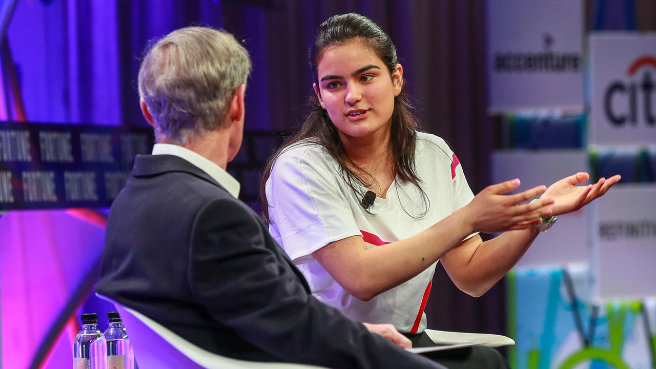 Seventeen-year-old Ananya Chadha discusses her work with blockchain and genetic data at Fortune's Brainstorm Finance Conference.