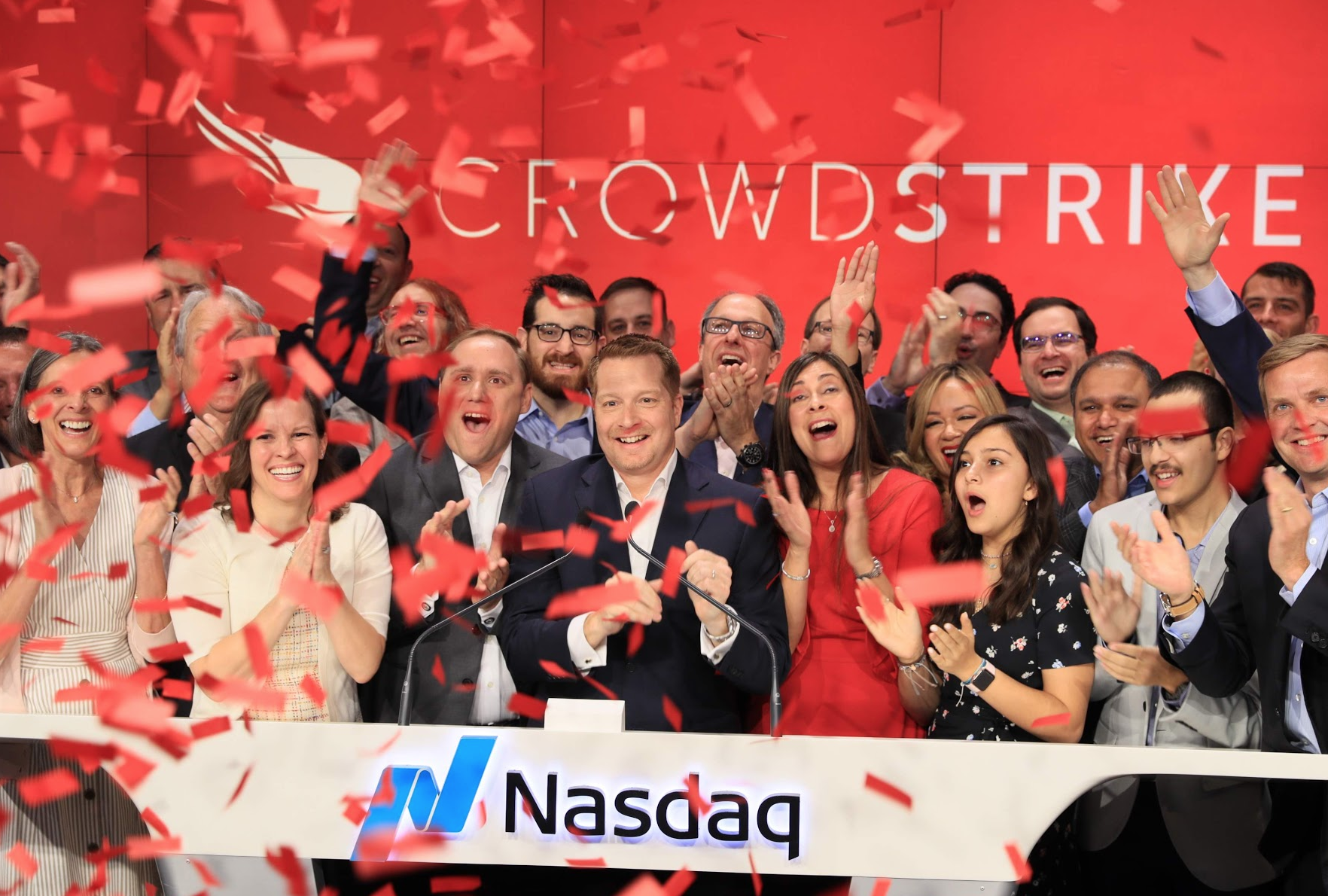 CrowdStrike celebrates its initial public offering at the Nasdaq stock exchange in New York City.