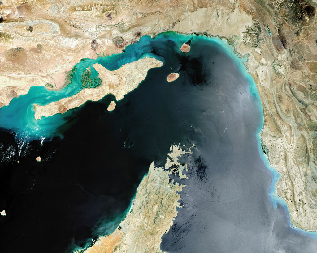 Satellite view of Strait of Hormuz