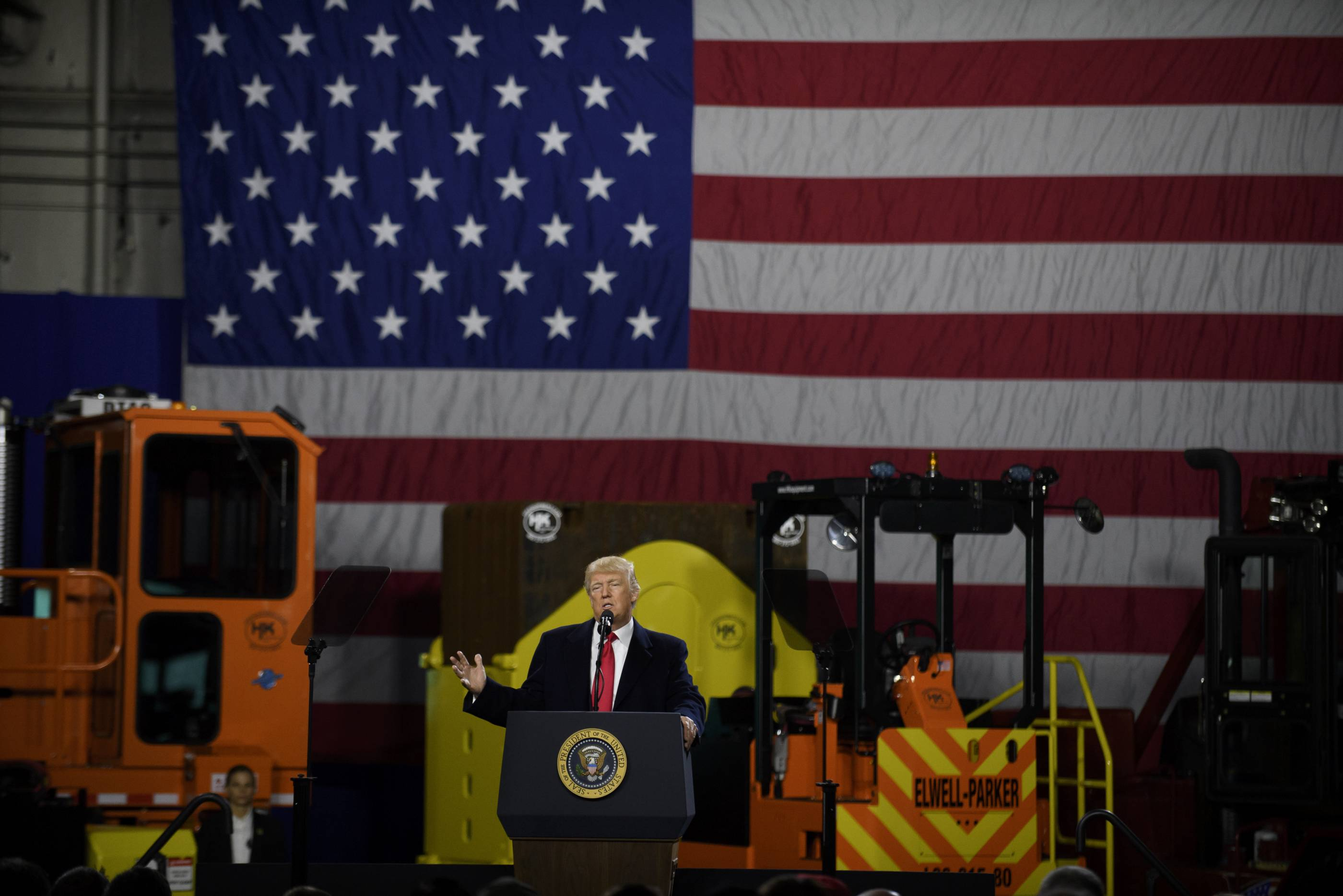President Trump Visits Equipment Manufacturing Plant In Pennsylvania