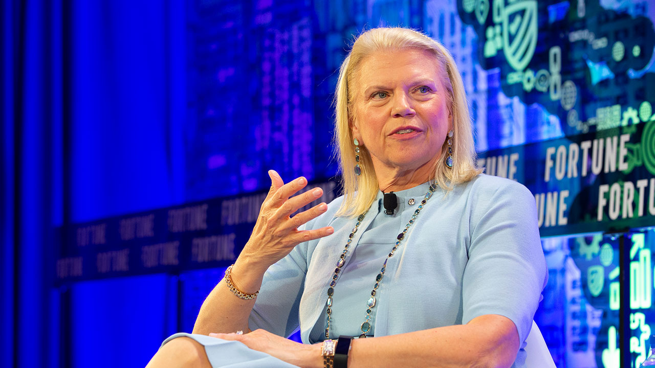 "IBM CEO Virginia ""Ginni"" Rometty speaking at the 2019 Fortune CEO Initiative in New York City."