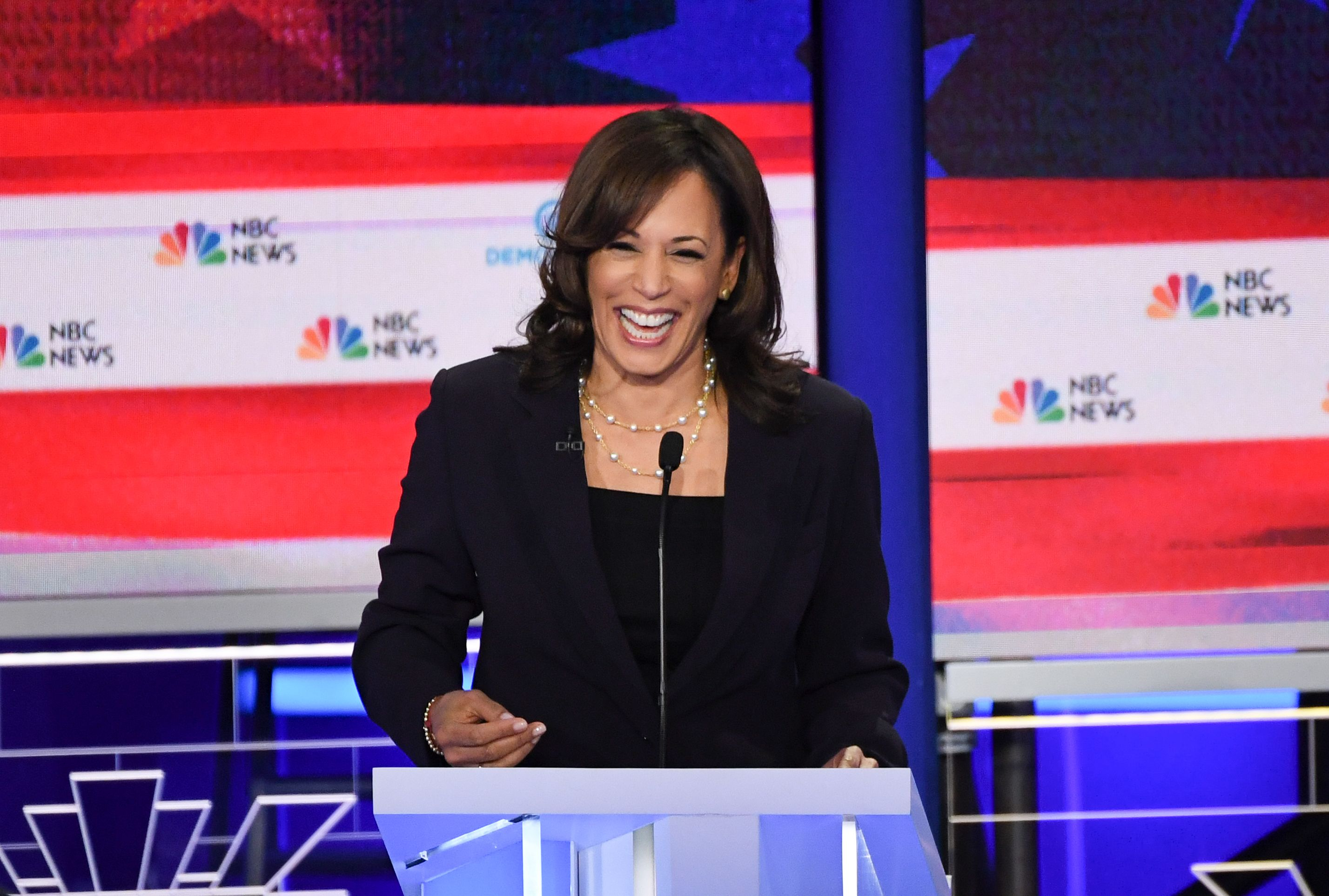 Democratic presidential hopeful US Senator for California Kamala Harris participates in the second Democratic primary debate of the 2020 presidential campaign season hosted by NBC News at the Adrienne Arsht Center for the Performing Arts in Miami, Florida, June 27, 2019. (Photo by SAUL LOEB / AFP)        (Photo credit should read SAUL LOEB/AFP/Getty Images)