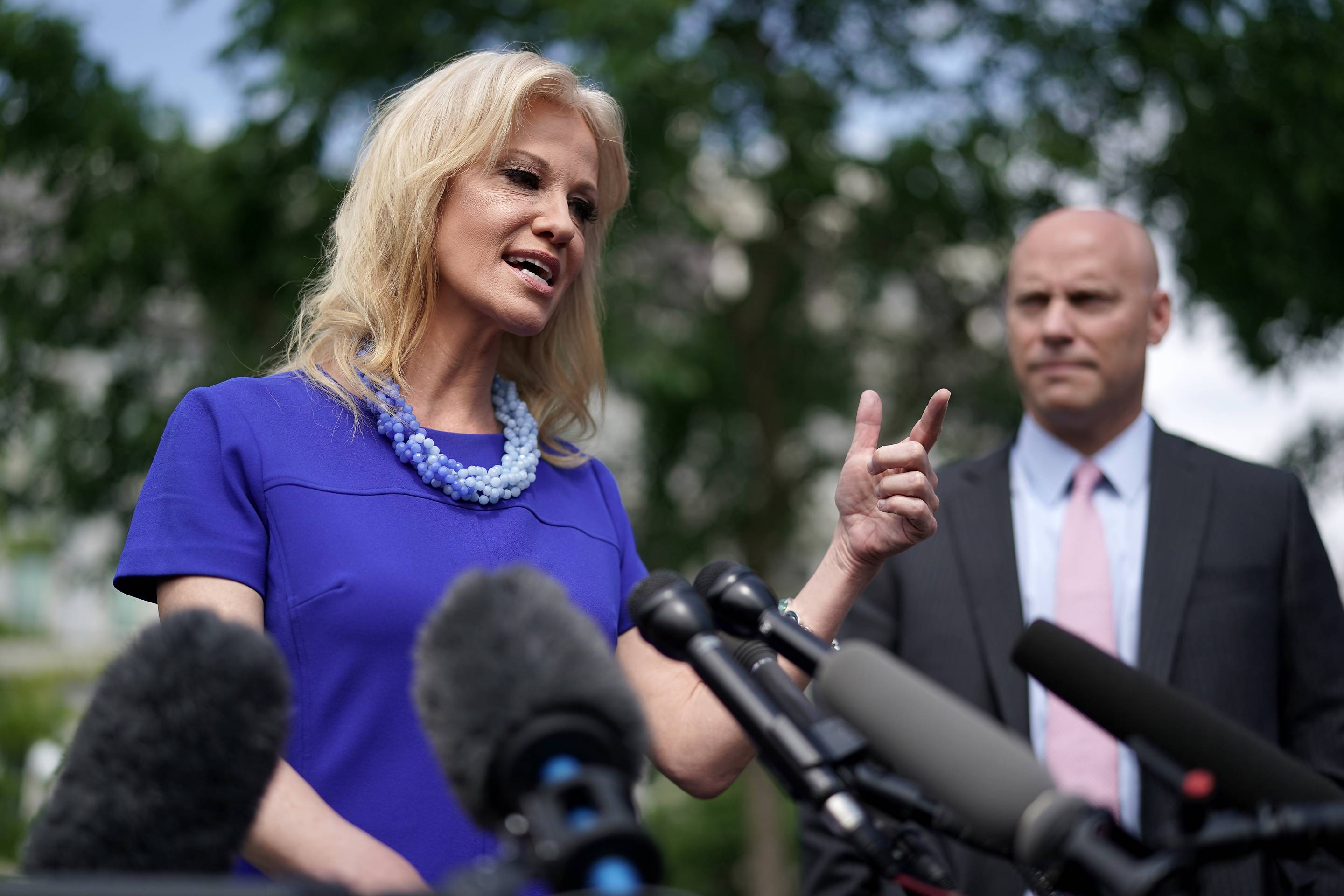White House Advisor Kellyanne Conway Speaks To The Press At The White House