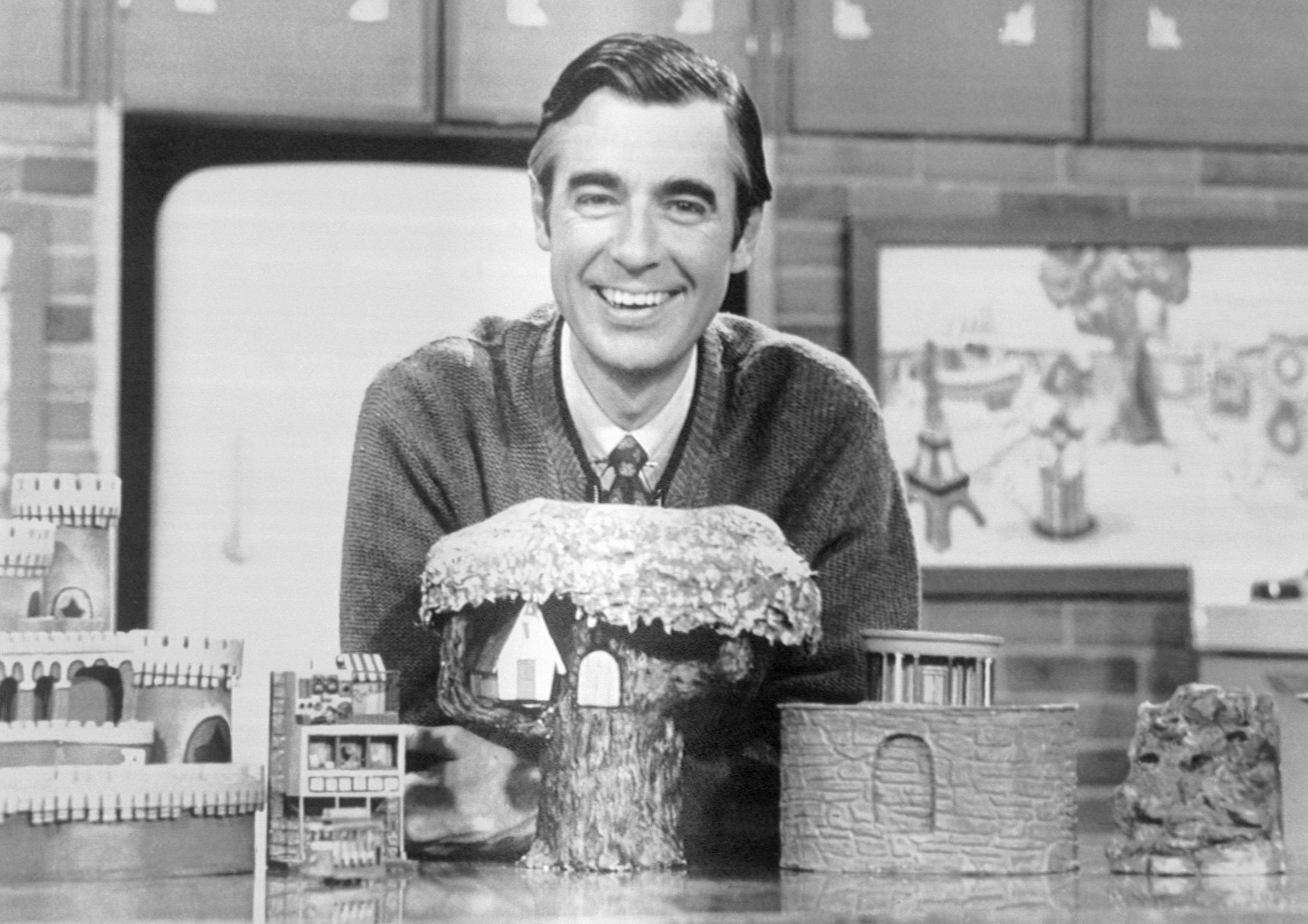 Fred Rogers on the set of 'Mister Rogers' Neighborhood.'
