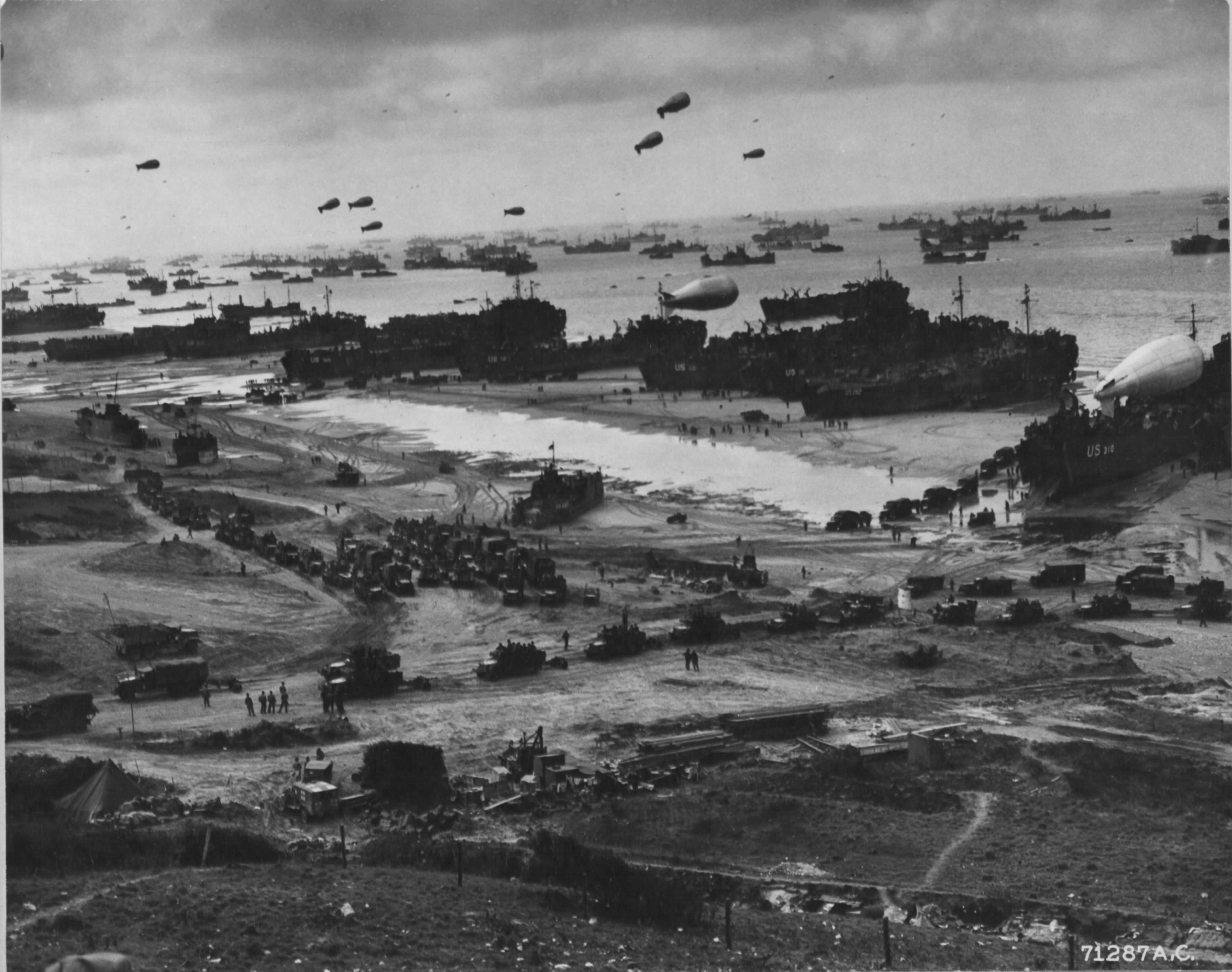 Barrage Balloons over Normandy Beaches on D-day