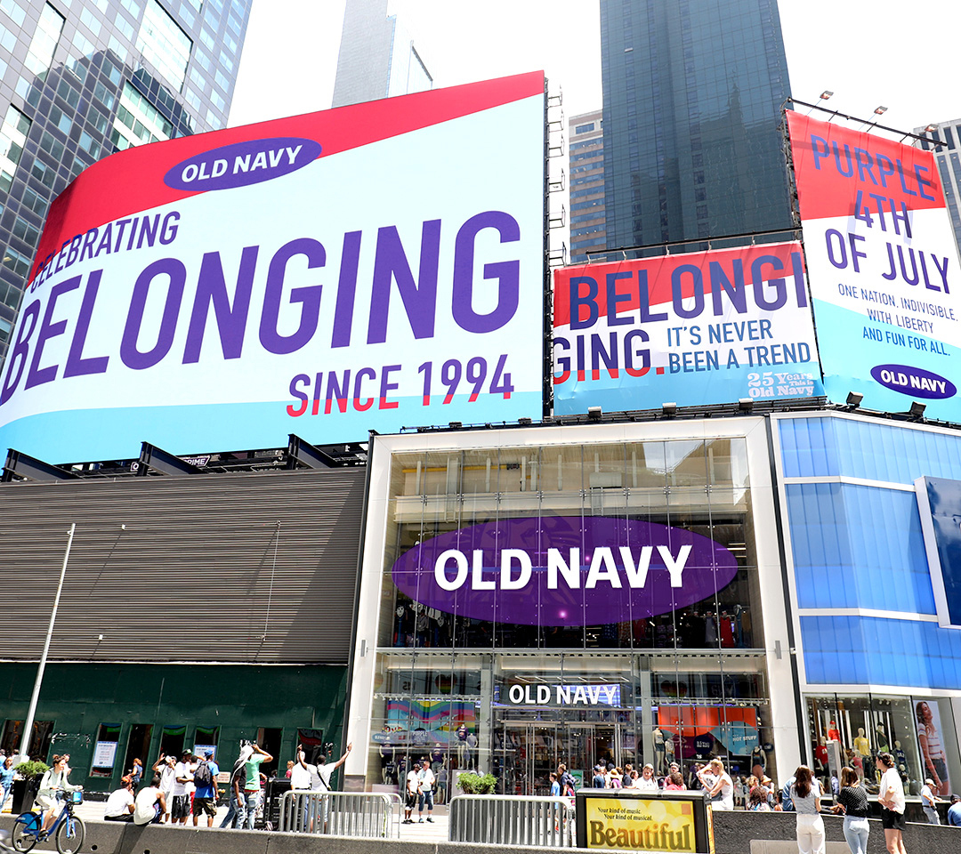 Old Navy is celebrating its 25th anniversary with a Purple 4th and 25-days-of-Belonging campaign.