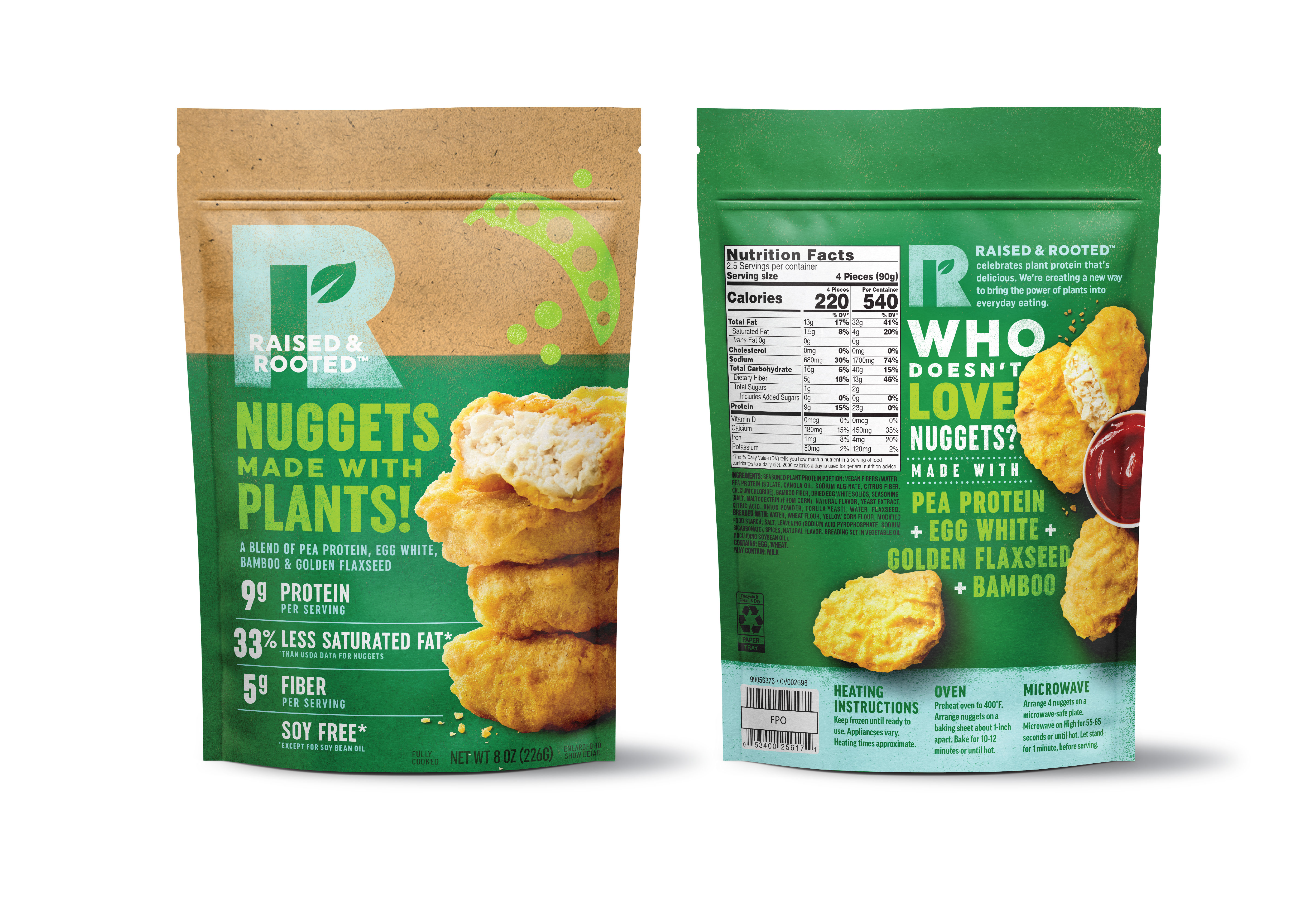 Raised & Rooted Nuggets Made with Plants Packaging