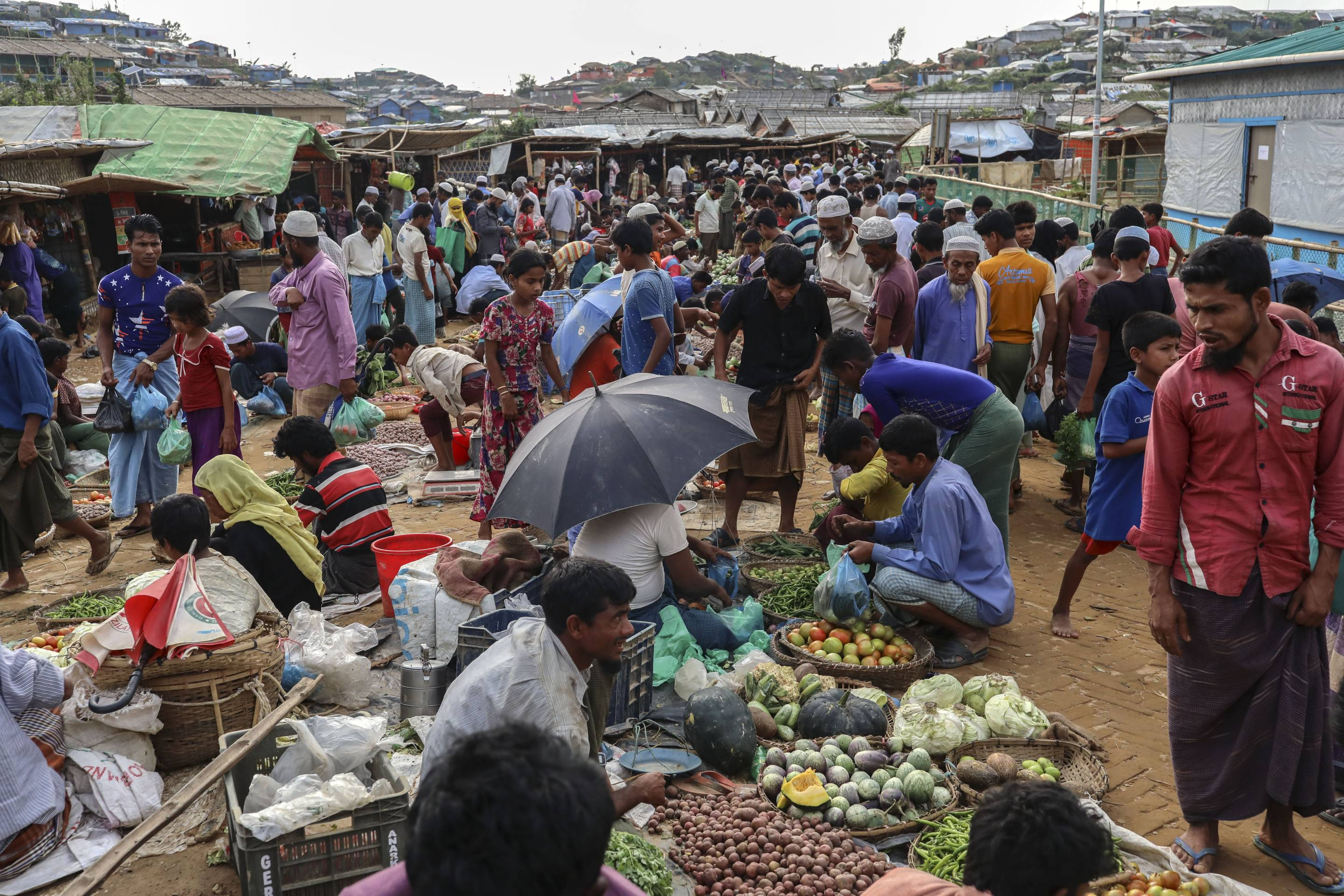 Rohingya people at the market in the Balukhali camp in Cox's Bazar, Bangladesh on March 07, 2019.