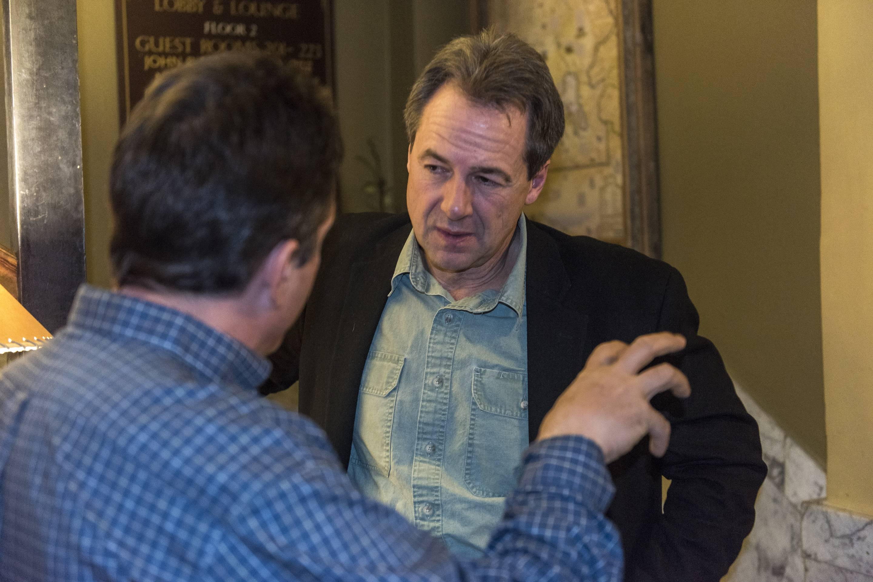 Montana Governor Steve Bullock talks with constituents.