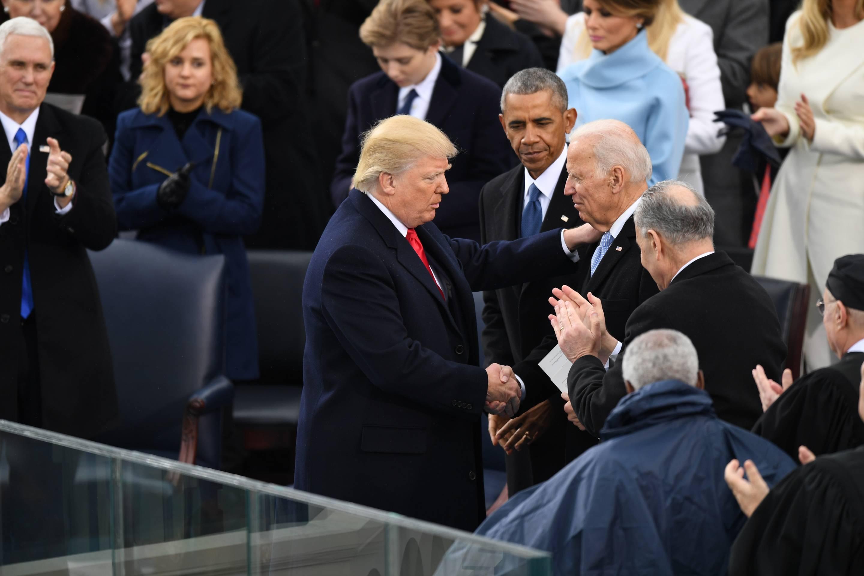 WASHINGTON, DC - JANUARY 20: President Donald J. Trump shakes h