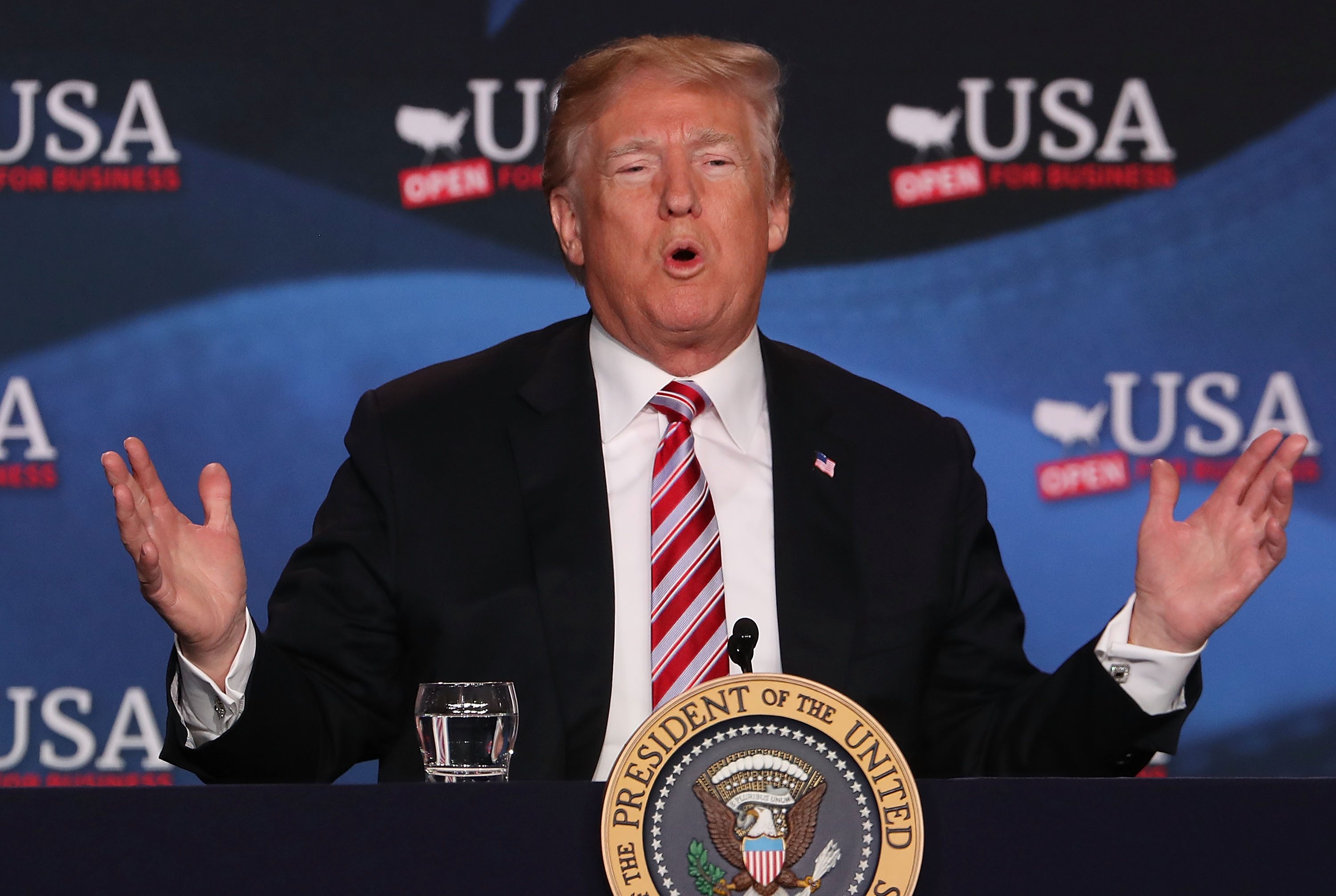 President Trump Holds Roundtable Discussion On Tax Reform In Hialeah, Florida