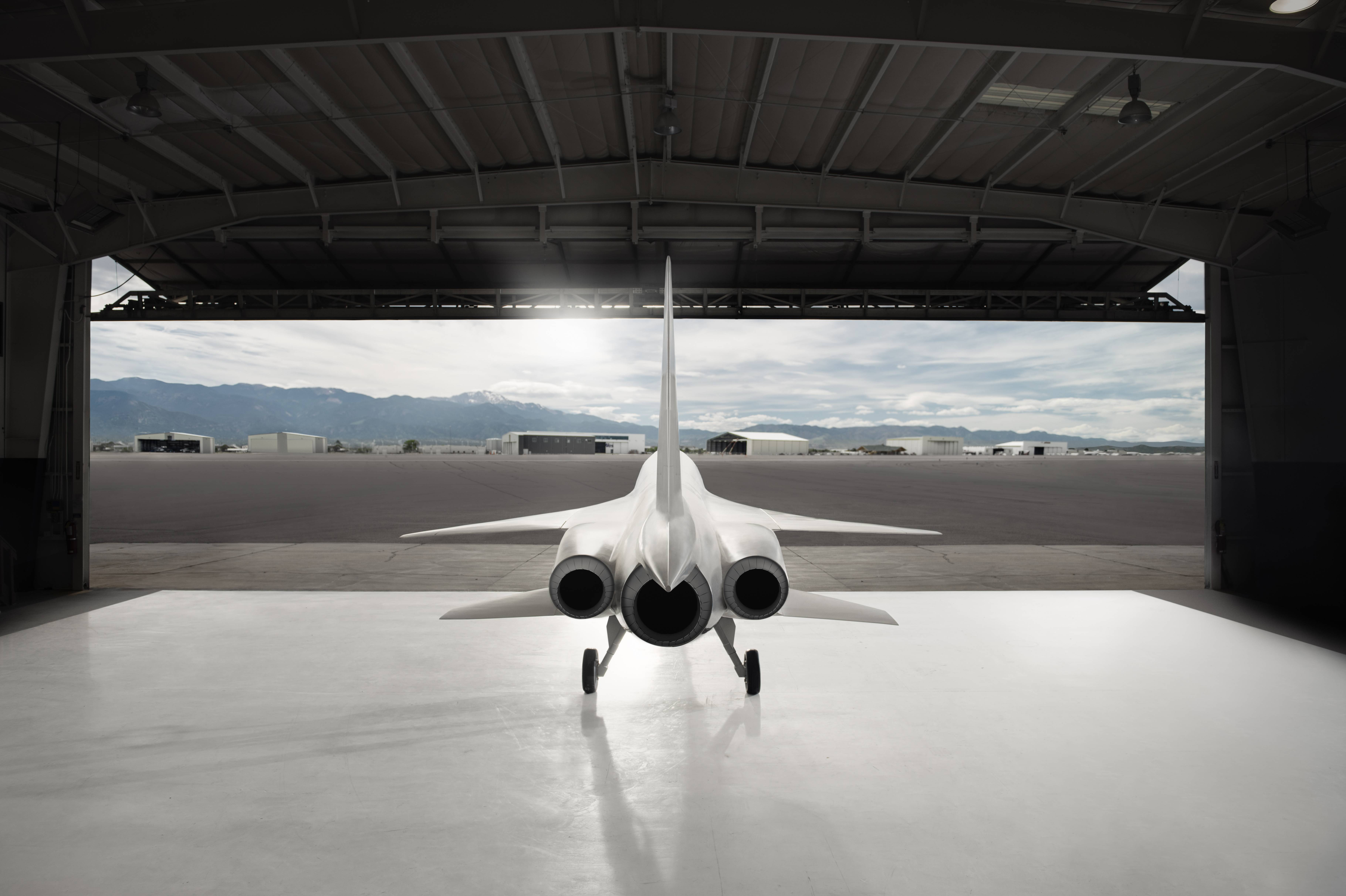 A computer-generated image of the Boom Supersonic XB1 leaving its hangar. The XB1 featured at the Paris Air Show this week.