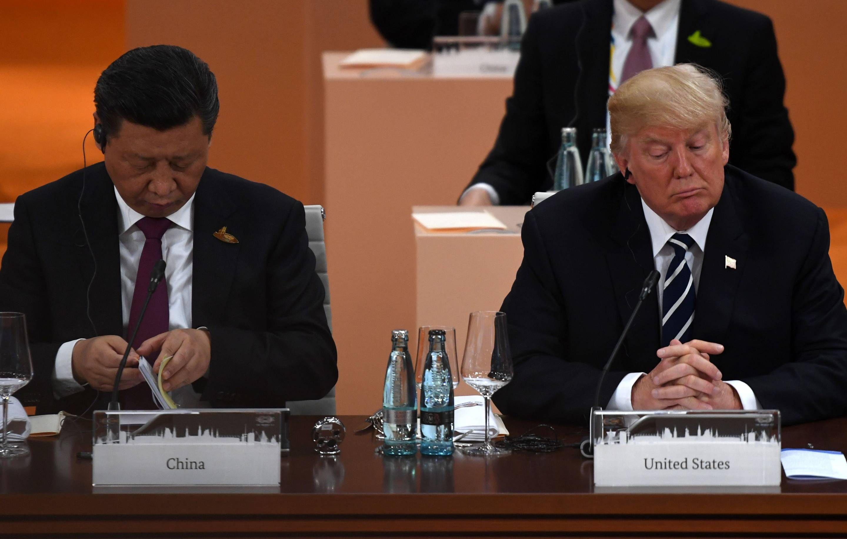 China's President Xi Jinping (L) and U.S. President Donald Trump at the G20 summit in Hamburg, Germany, on July 7, 2017