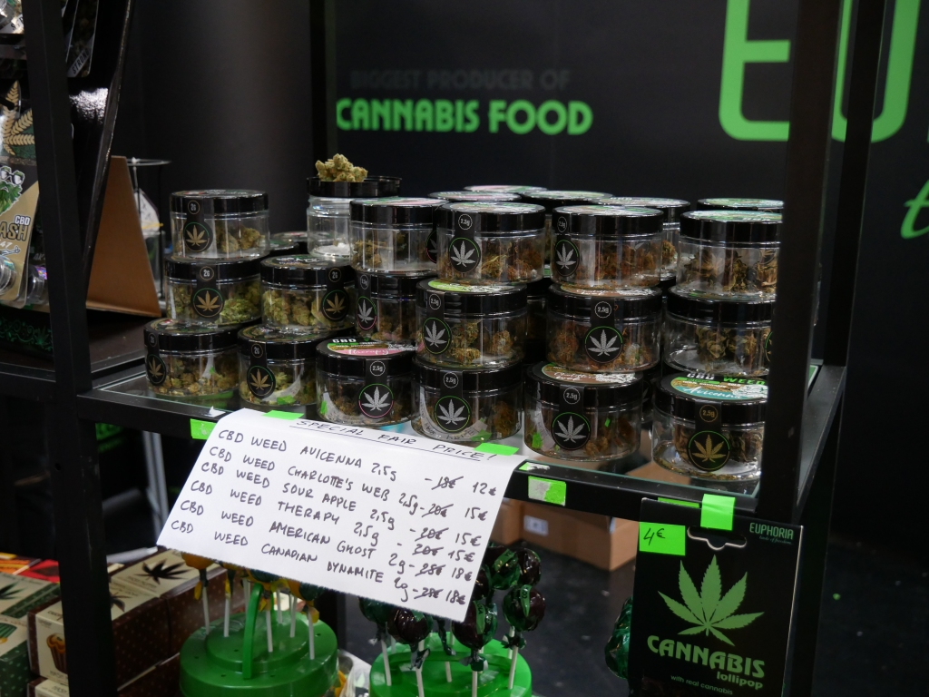 Smokable CBD products, with minimal THC content, on sale at the Mary Jane Berlin cannabis expo on June 21, 2019.