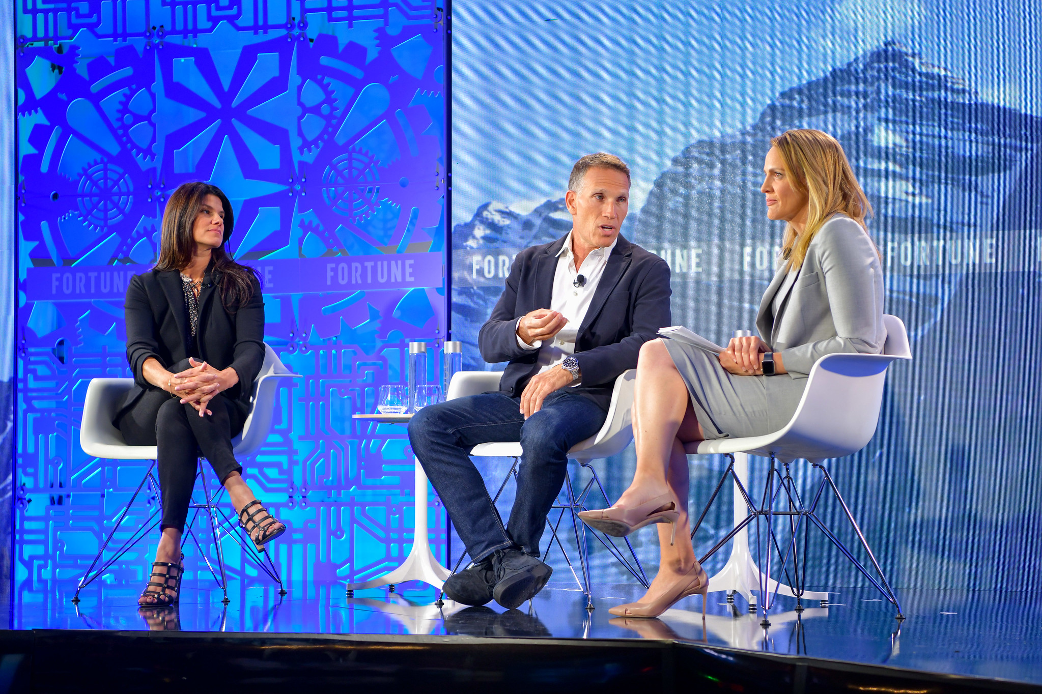 Mattel CEO Ynon Kreiz (center), discusses the company's forthcoming Barbie movie, with Mattel Films executive producer Robbie Brenner (left) and former OpenTable CEO Christa Quarles, at Fortune's Brainstorm Tech conference in Aspen, Colorado on July 15, 2019.