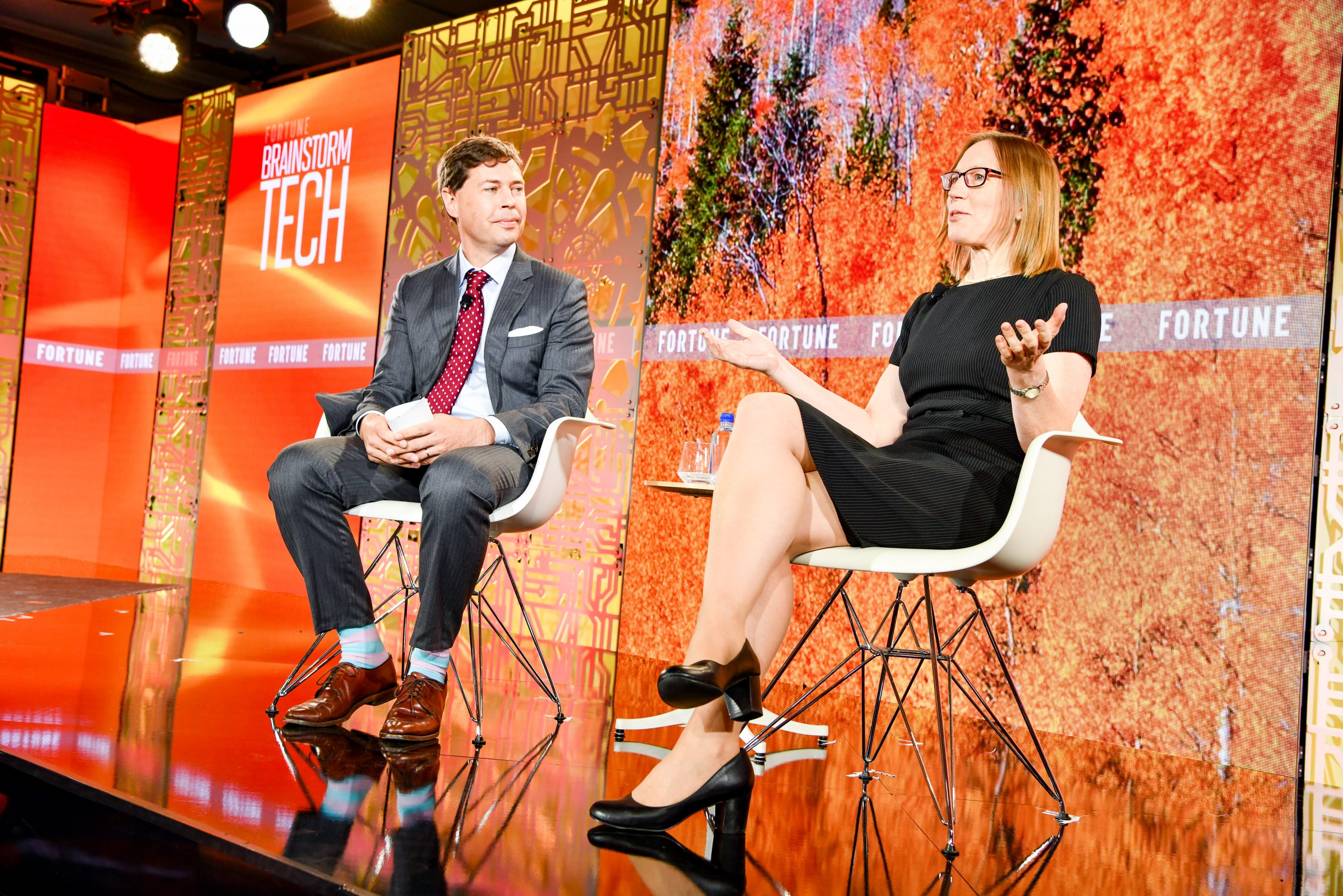 SEC commisioner Hester Peirce (right) on stage with Fortune's Jeff Roberts at the Brainstorm Tech conference in Aspen, Colo., on July 16, 2019.
