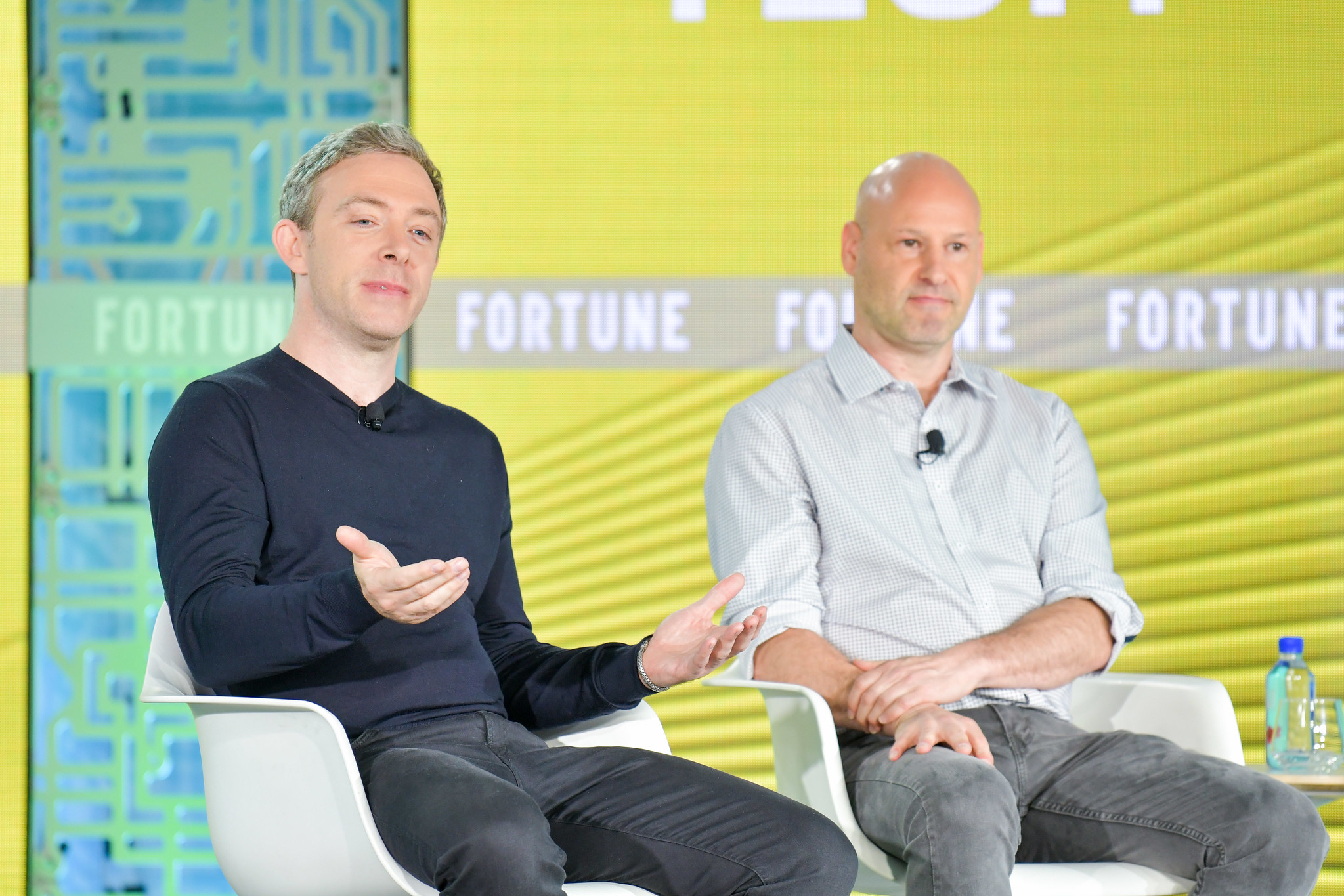 Dfinity CEO Dominic Williams (left) and Consensys CEO Joe Lubin (right) talk Web 3.0 at Fortune Brainstorm Tech 2019 on Wednesday, July 17, 2019.